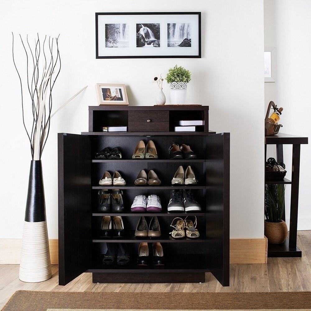 Arthurie Contemporary Espresso 5 Shelf Shoe Cabinet By Foa