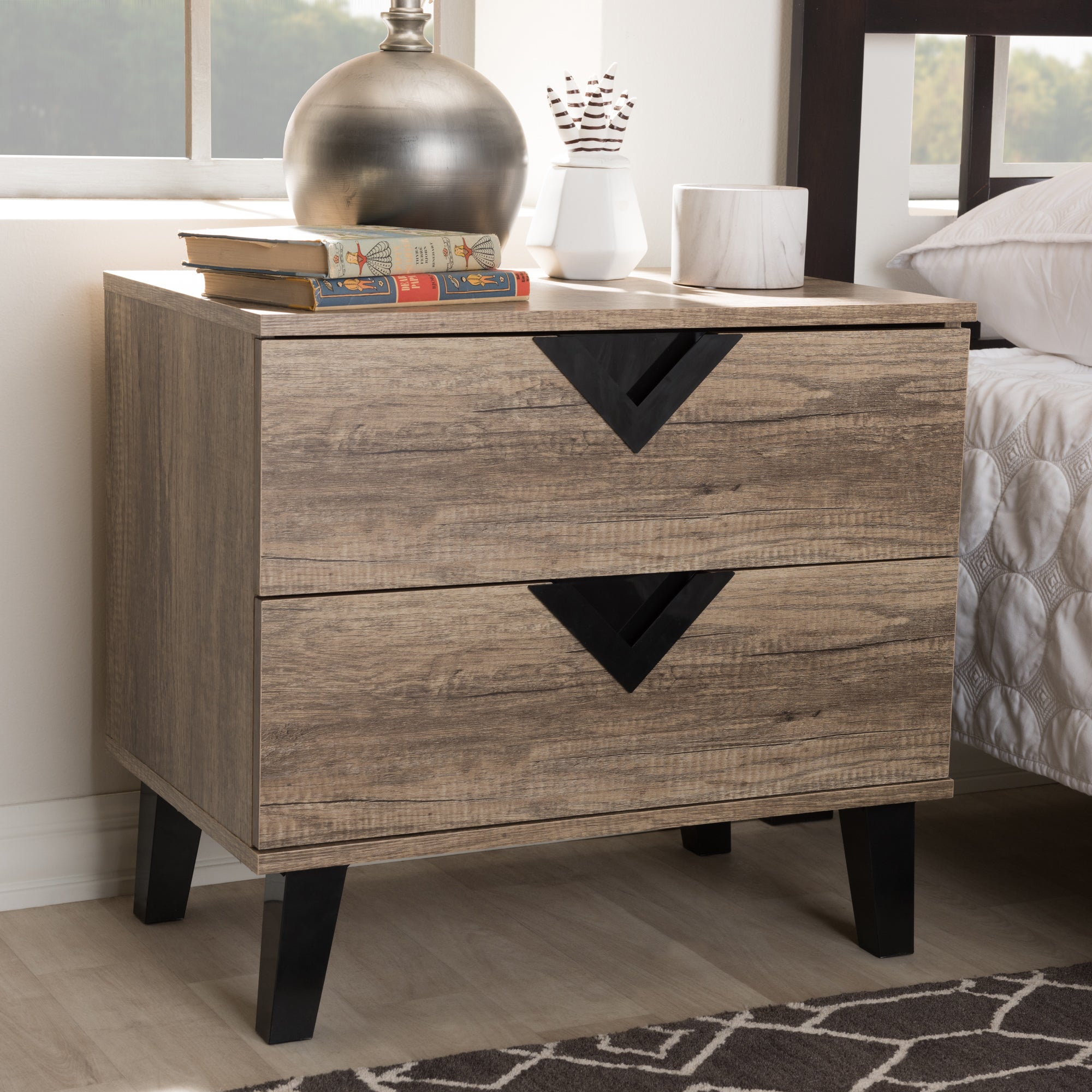 Carson Carrington Dragor Contemporary Light Brown Wood Nightstand
