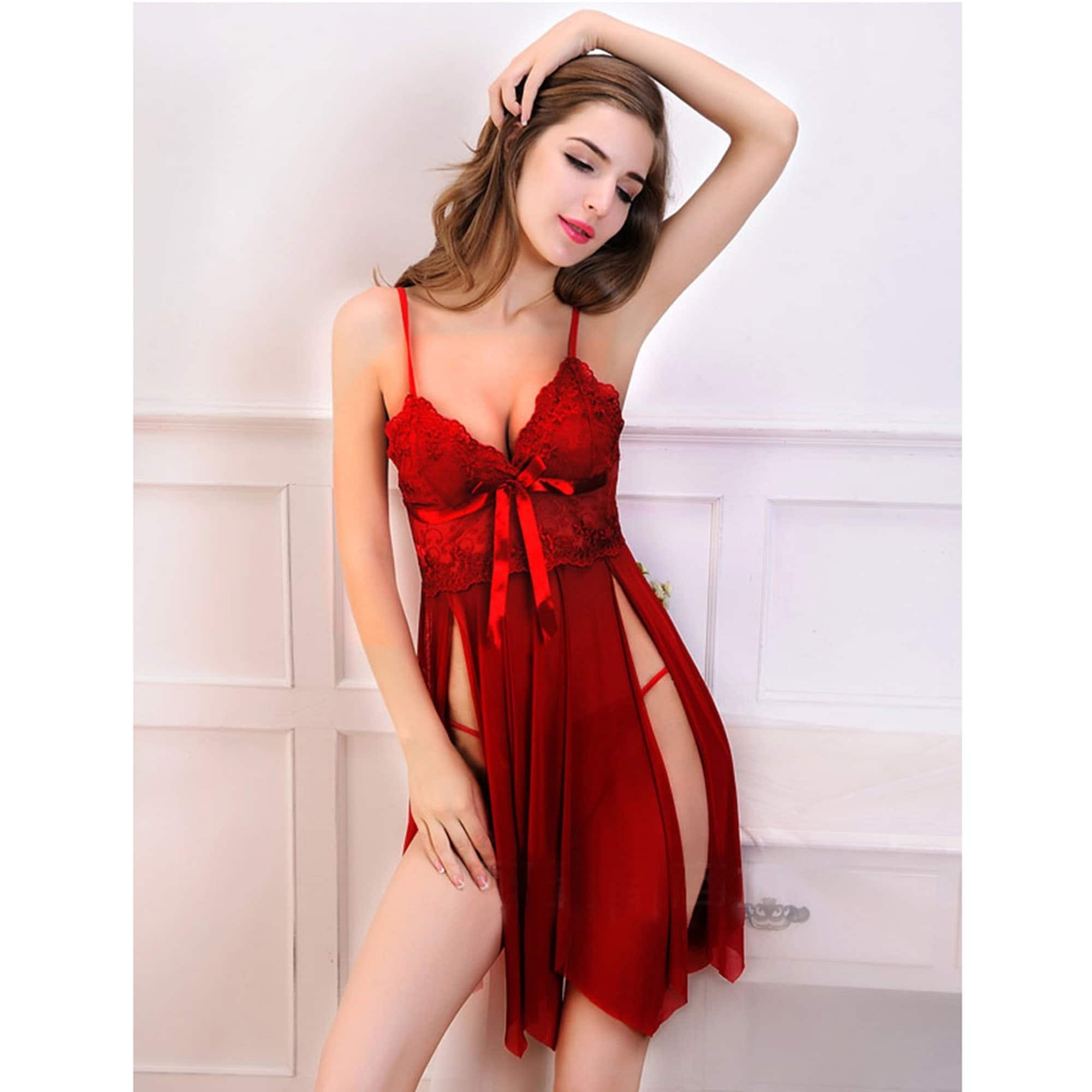 dfea0ae721ba Shop Acappella Sexy Sleep Dress Mesh Floral Lace Satin Bow - Free ...