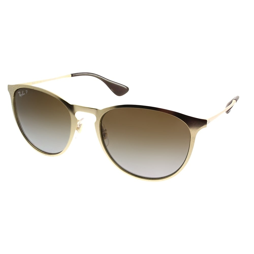 7bfc9b5e70 Ray-Ban Round RB 3539 Erika Metal 112 T5 Unisex Matte Gold Frame Brown  Gradient Polarized Lens Sunglasses