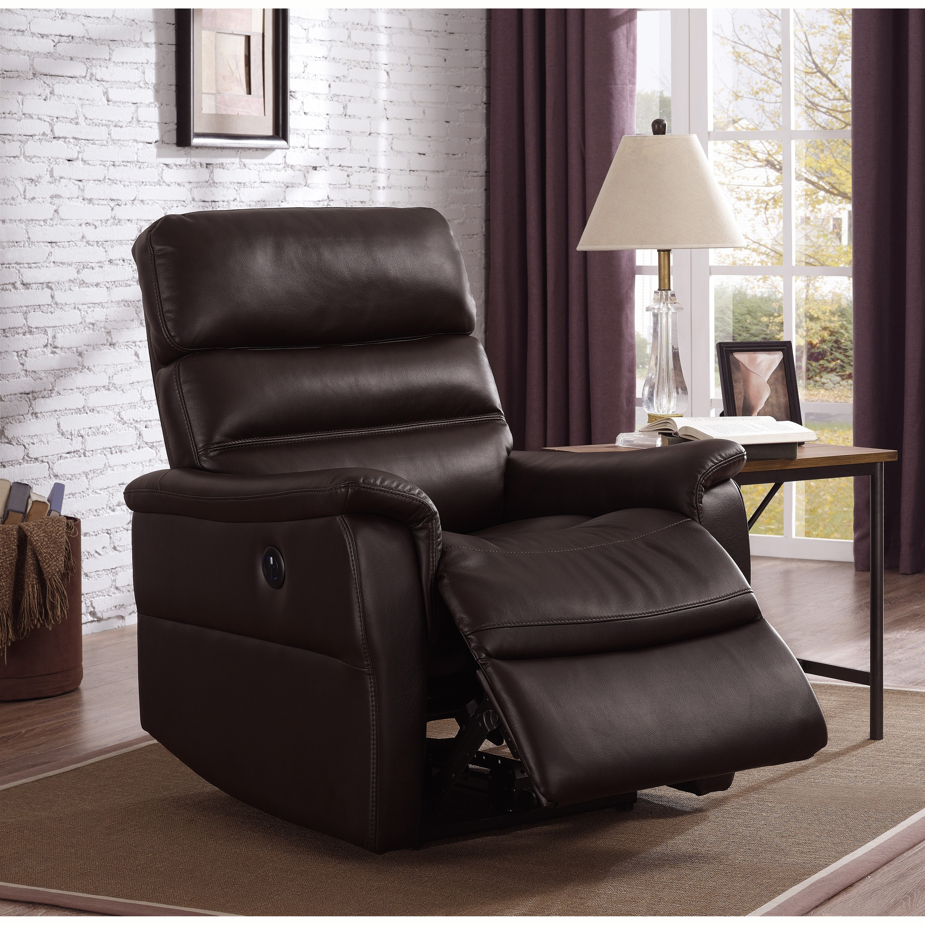 Shop Bryant Brown Faux Leather Power Recliner Chair On Sale Free