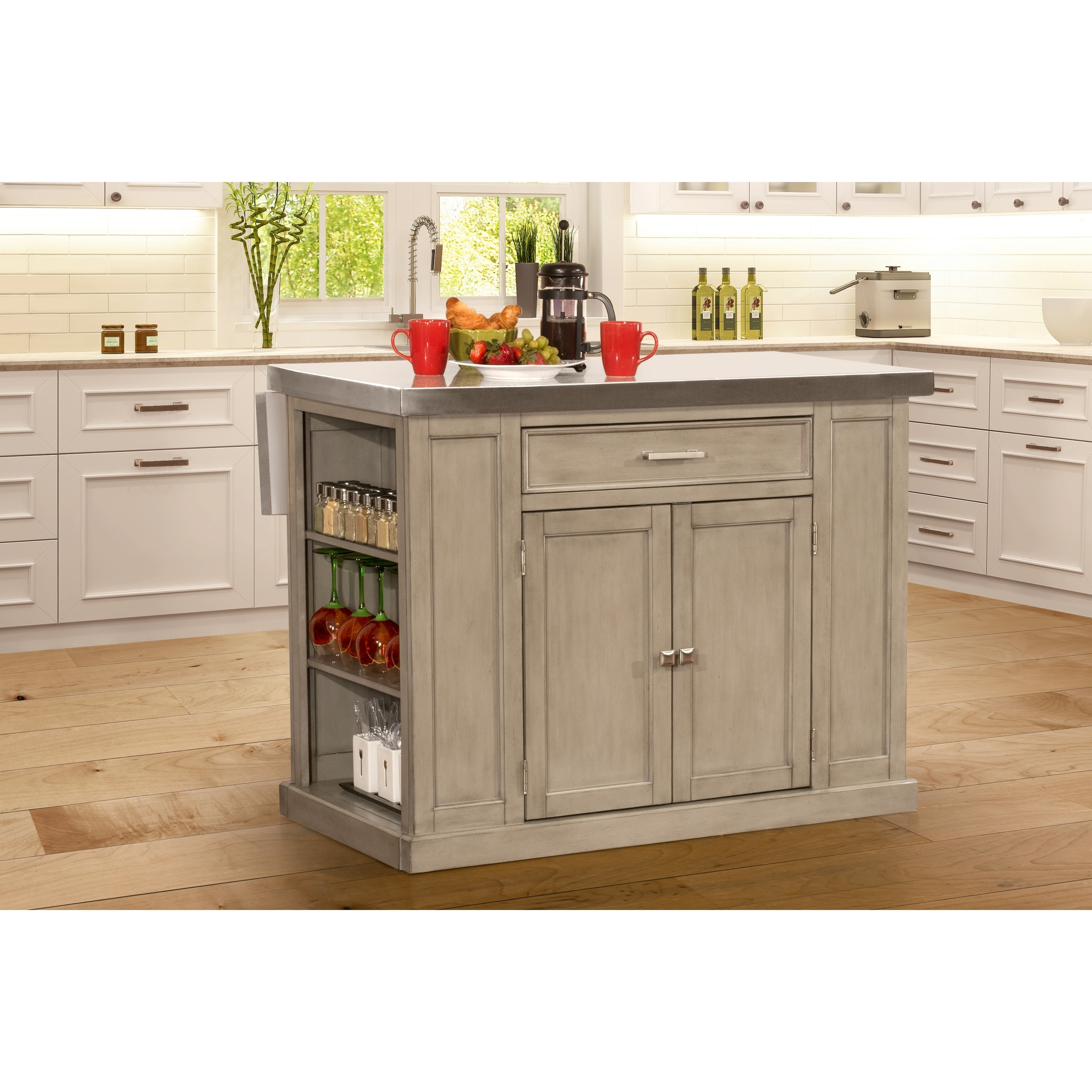 Flemington Kitchen Island In Gray With Stainless Steel Top By Hilale Furniture