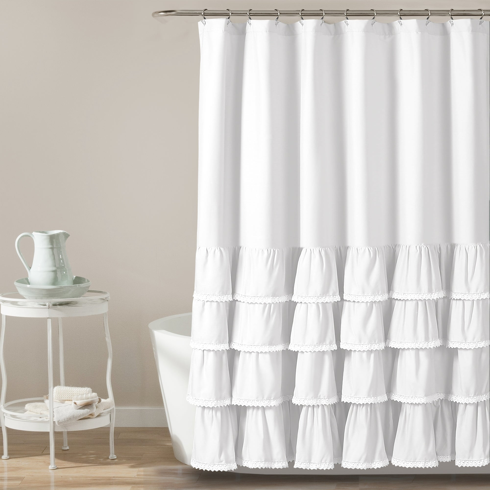 Shop Lush Decor Ella Lace Ruffle Shower Curtain   Free Shipping On Orders  Over $45   Overstock.com   21905751
