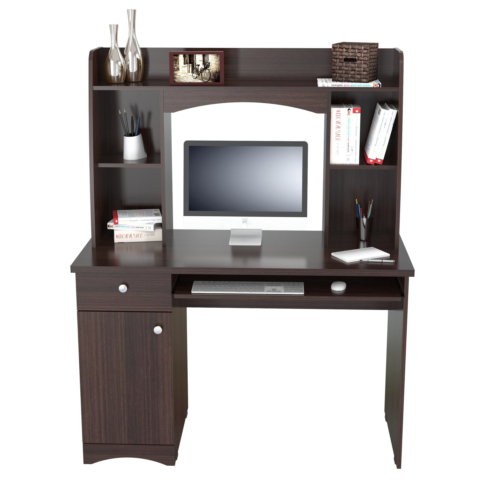 Inval Jansse Espresso Wengue Workstation With Hutch On Free Shipping Today 21908666