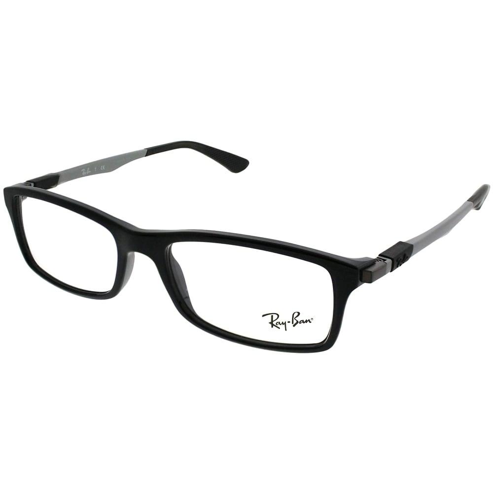 ca96722fa90 Ray-Ban Rectangle RX 7017 2000 Unisex Shiny Black Frame Eyeglasses