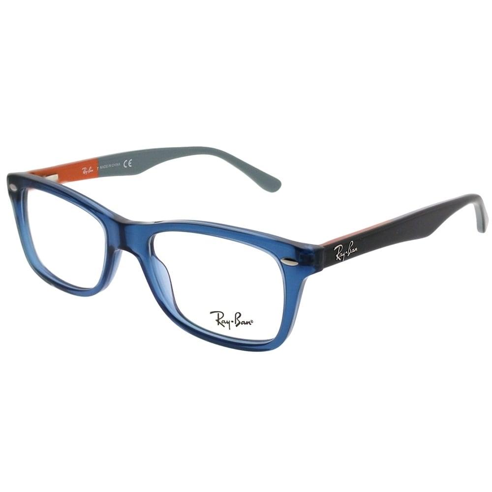 a6ecd970e2 Ray-Ban Rectangle RX 5228 5547 Unisex Transparent Blue Frame Eyeglasses