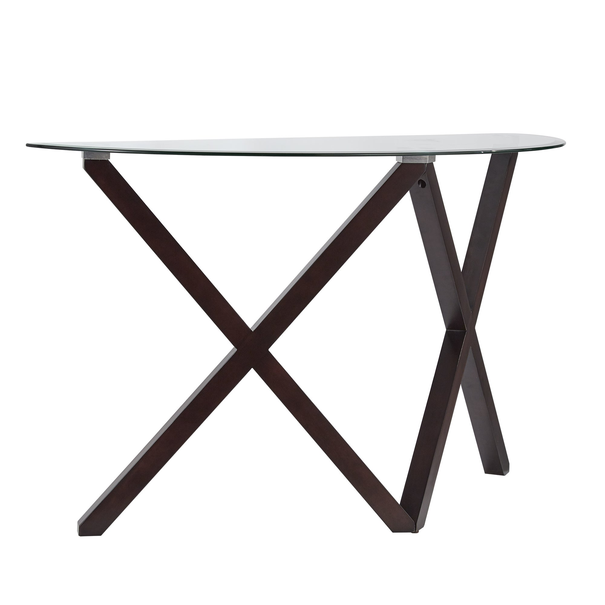Cora Contemporary Glass Top X Base Sofa Table by iNSPIRE Q Modern