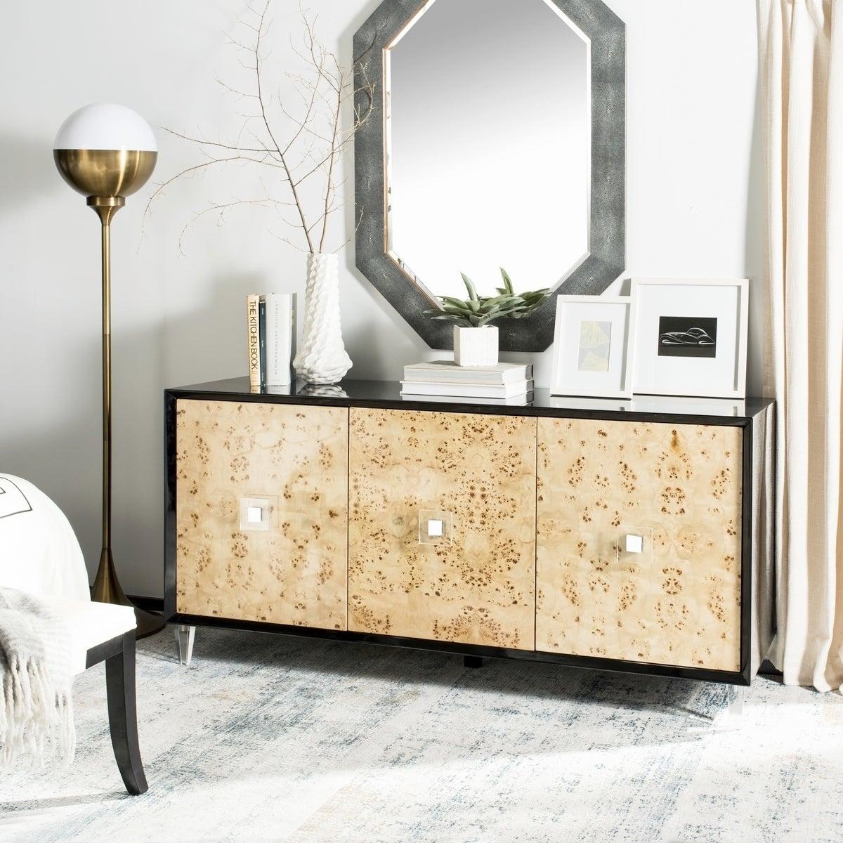Shop Safavieh Couture Lazaro Burlwood Sideboard / Black Lacquer ...