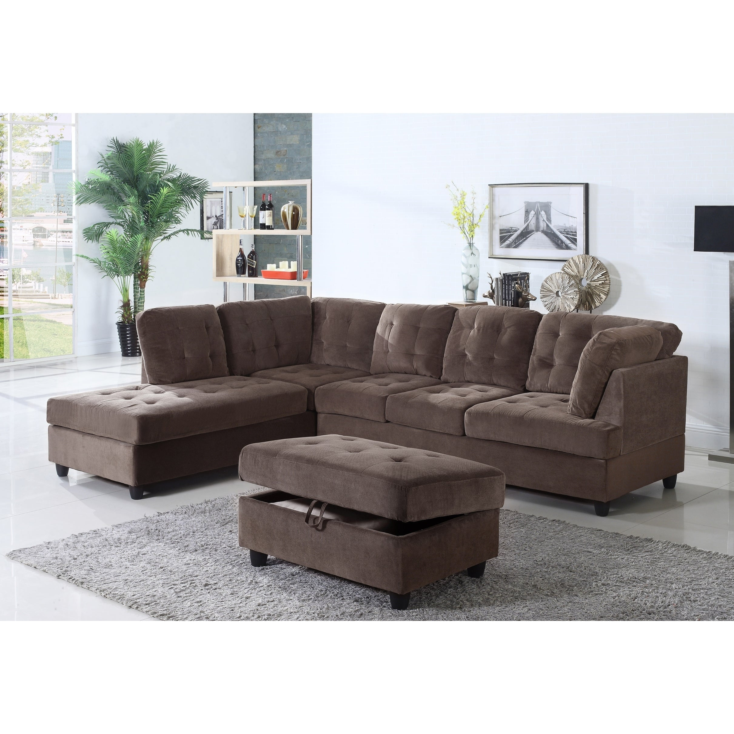 Golden Coast Furniture Brown Corduroy Fabric Upholstered 3-piece Sectional  Sofa with Ottoman Storage