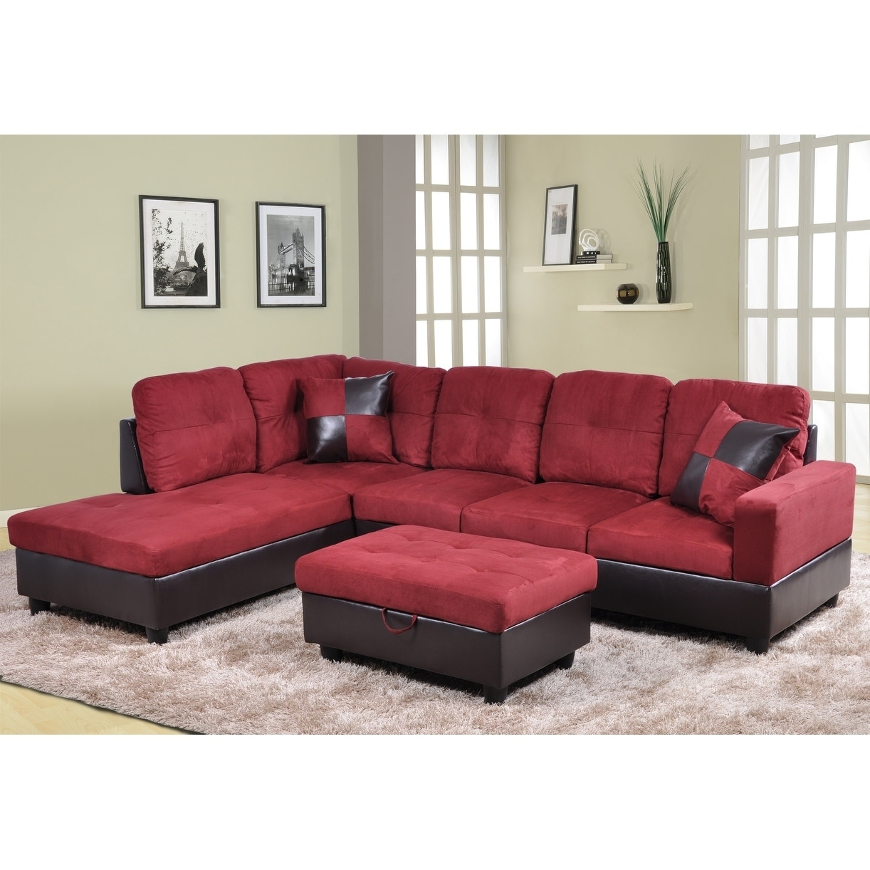 Golden Coast Furniture 3 Piece Microfiber Leather Sofa Sectional With  Ottoman Storage   Free Shipping Today   Overstock   27616075