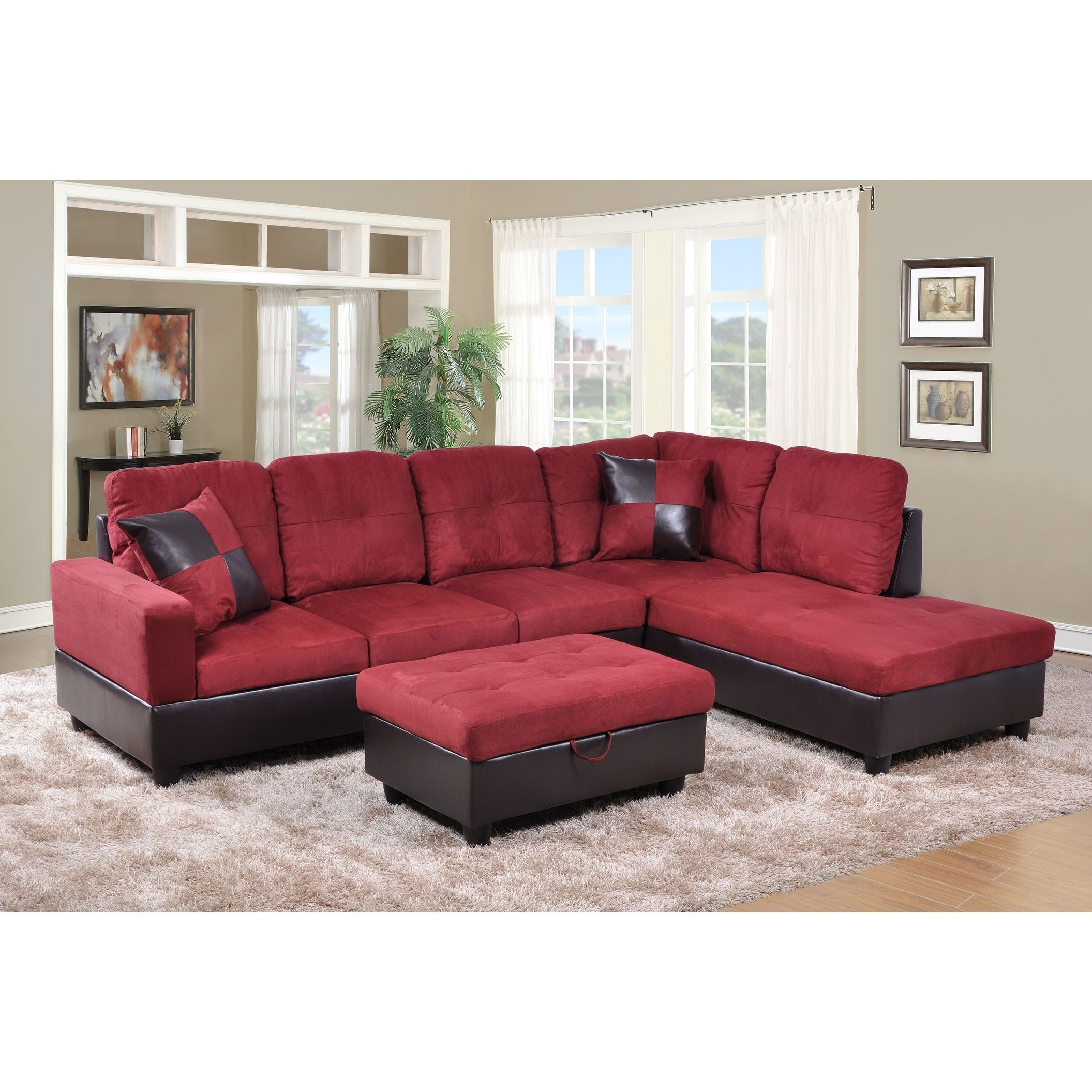 Golden Coast Furniture 3 Piece Microfiber Leather Sofa Sectional With Ottoman Storage On Free Shipping Today 21930338