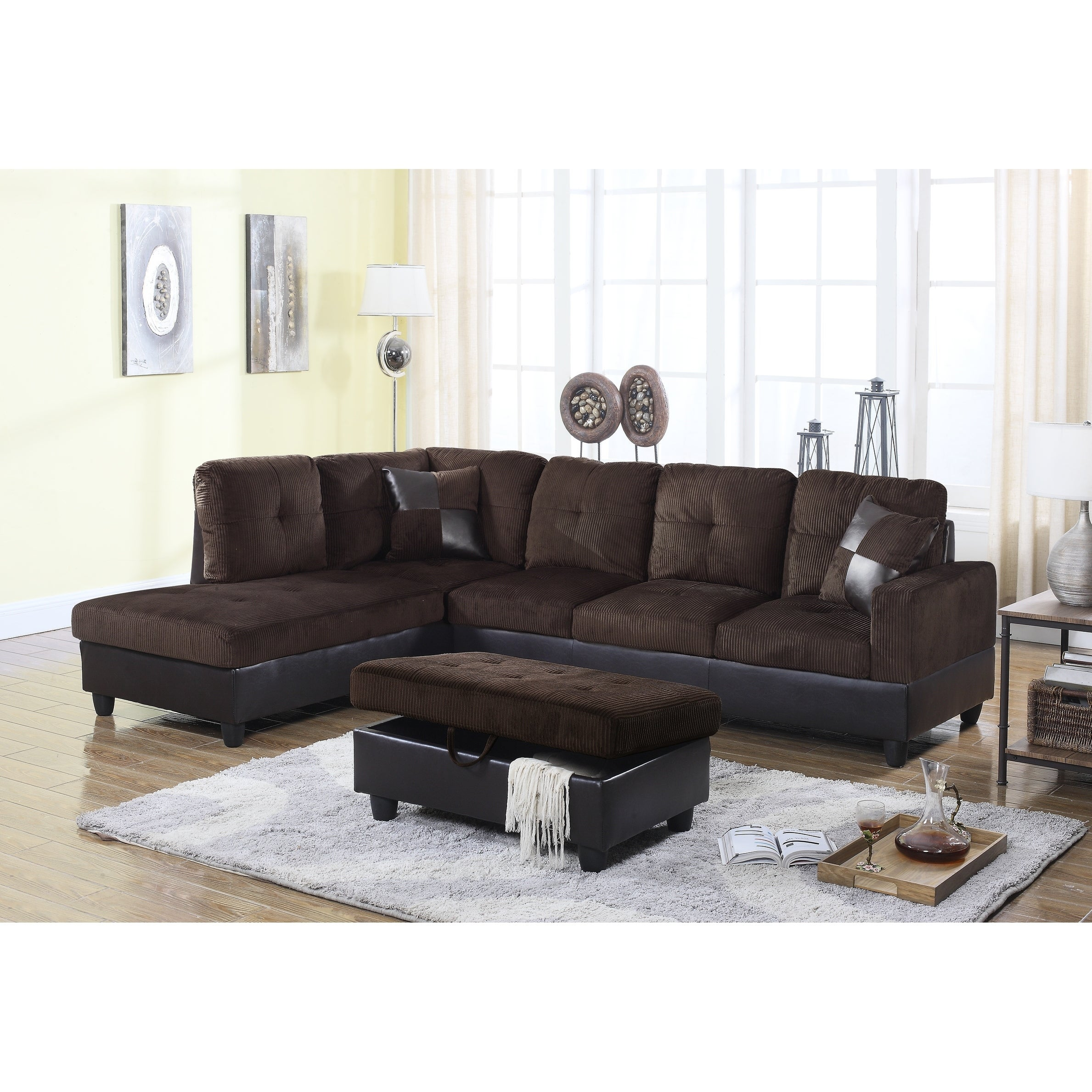 Golden Coast Furniture 3 Piece Microfiber Leather Sofa Sectional With Ottoman Storage Free Shipping Today 21930338