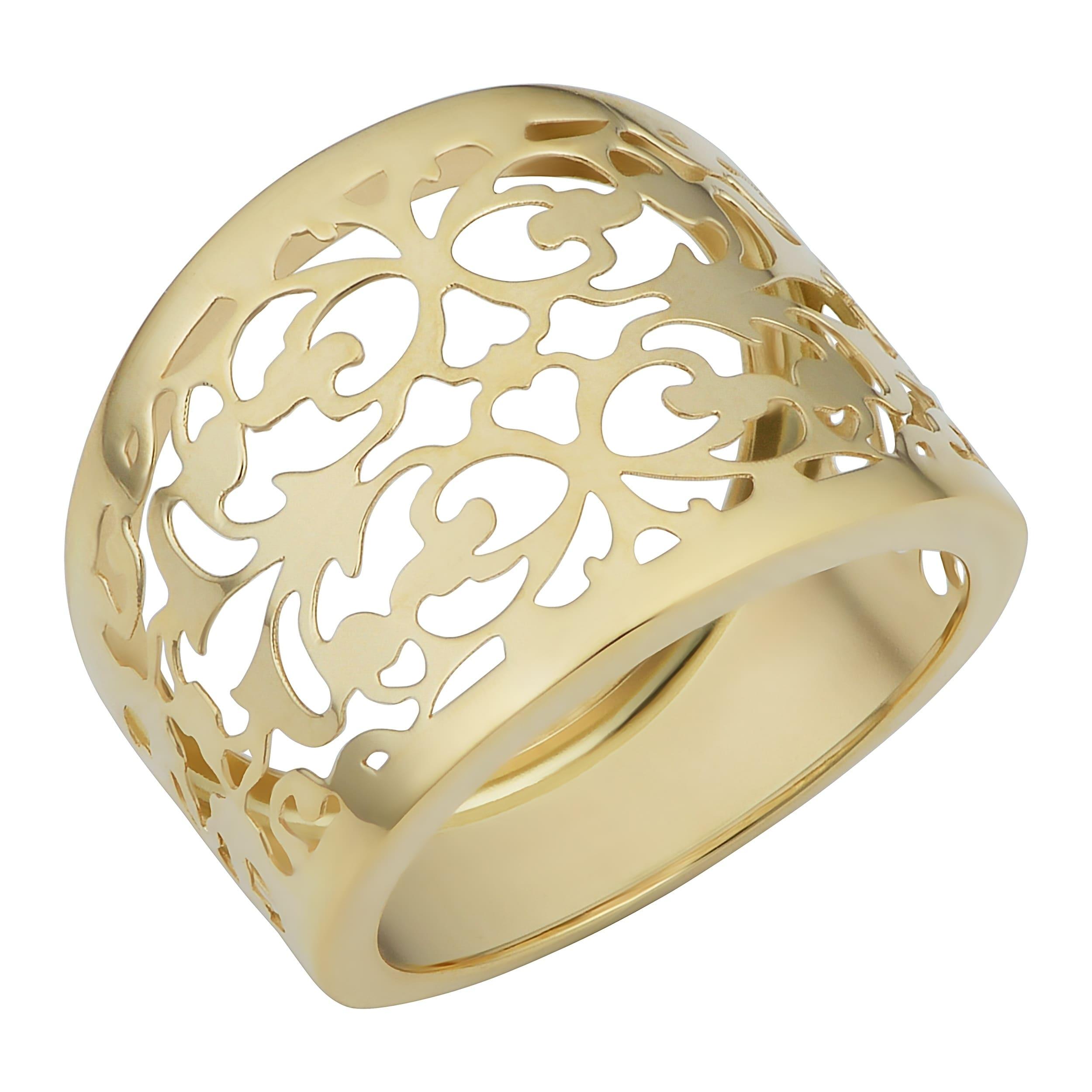Shop Fremada Italian 14k Yellow Gold Filigree Cigar Band Ring (16.5 ...