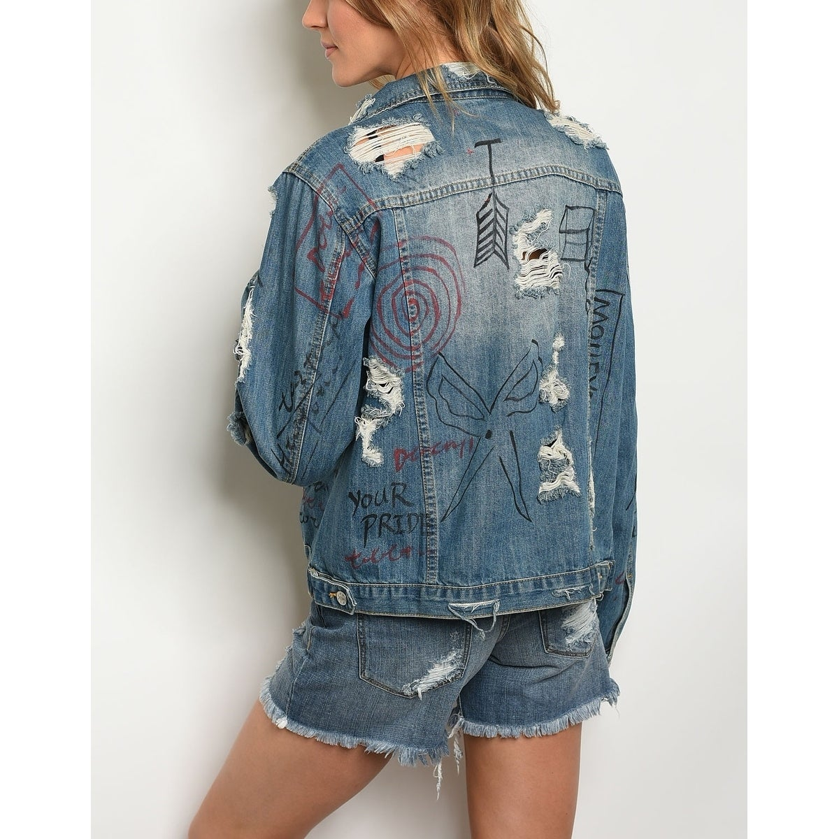 683f72b5f7 Shop JED Women's Oversized Distressed Graffiti Denim Jacket - Free Shipping  Today - Overstock - 21932650