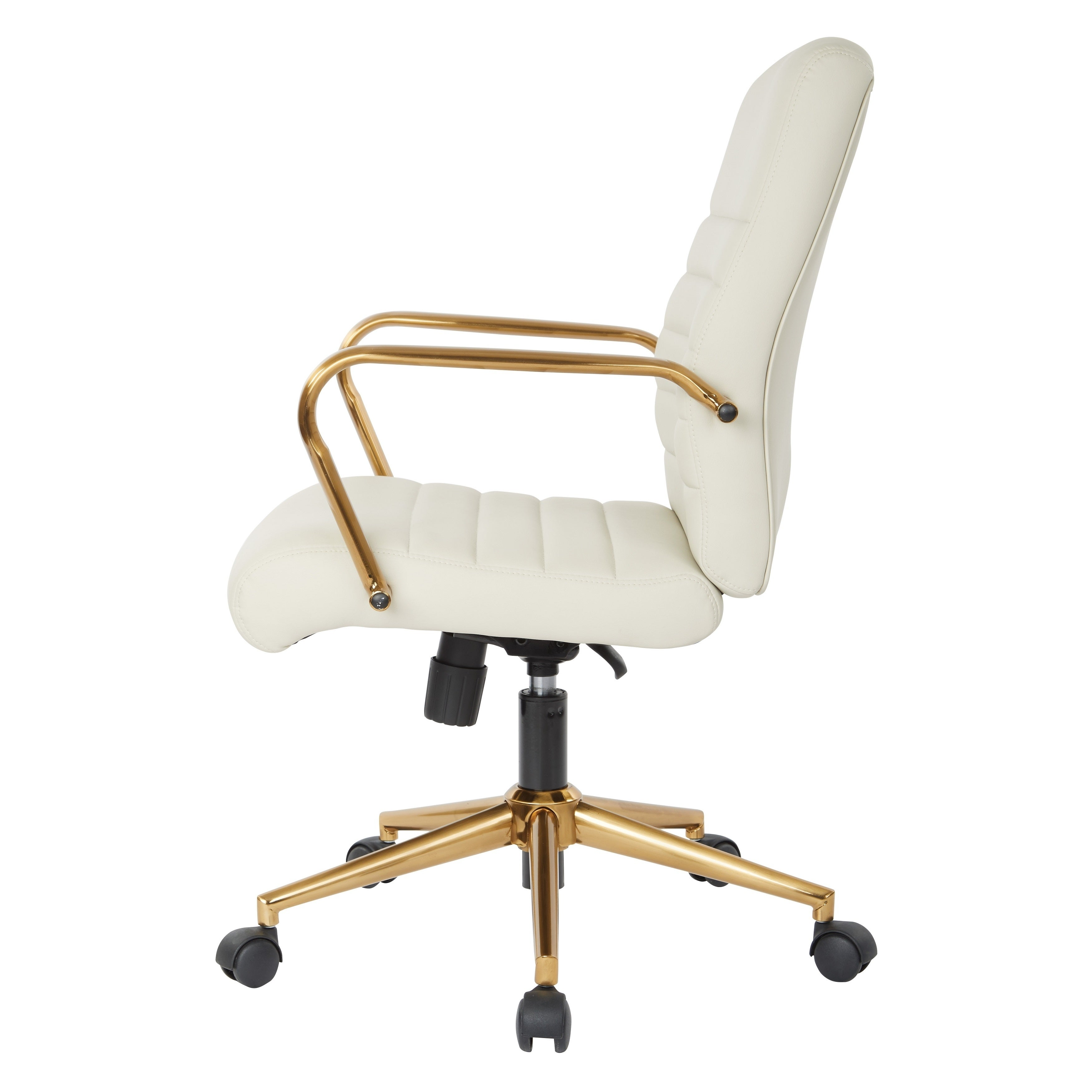 737eefe7c Shop OSP Home Furnishings Baldwin Mid-Back Faux Leather Chair with Gold  Finish Arms and Base - Free Shipping Today - Overstock - 21932920