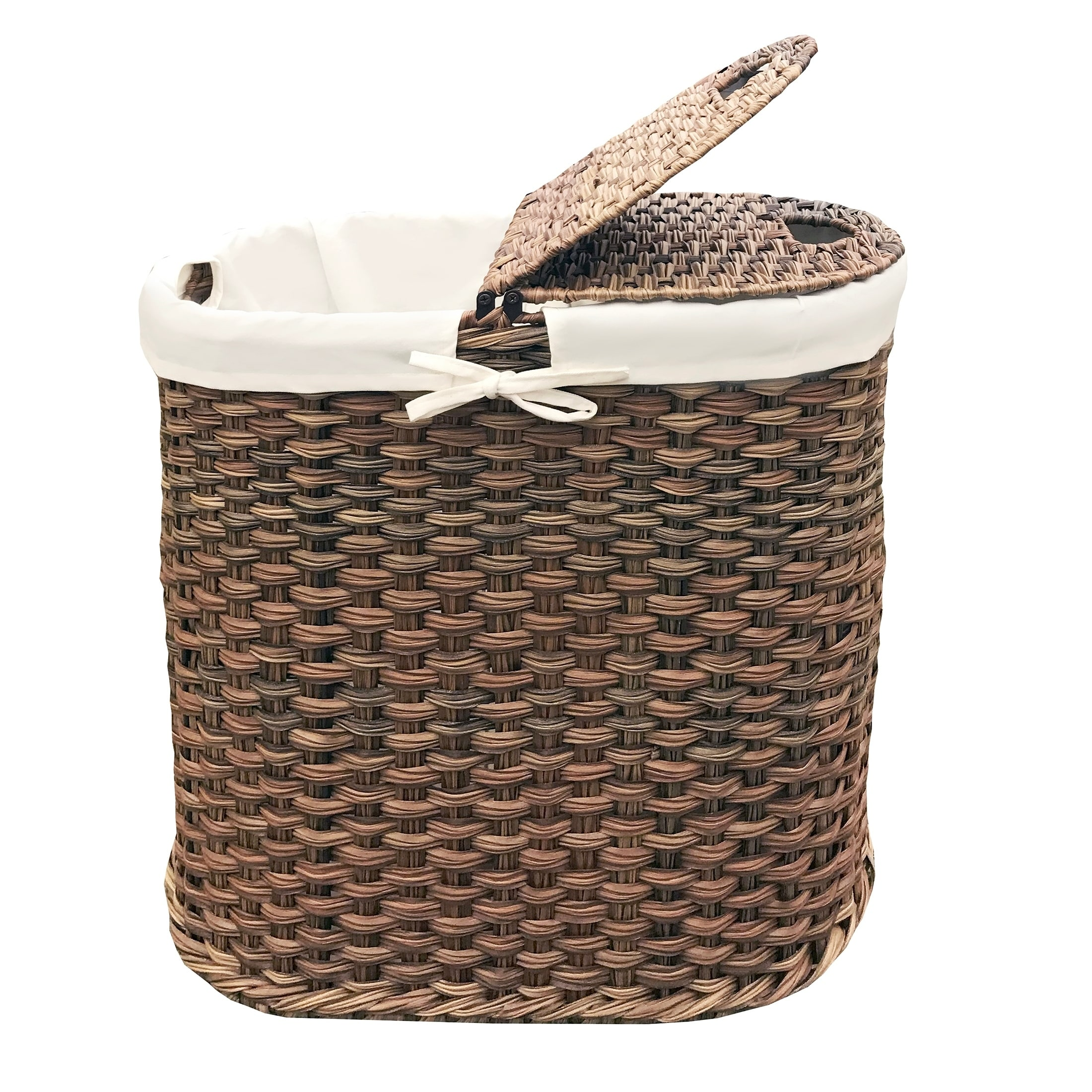 Seville Clics Hand Woven Oval Double Laundry Hamper W Liner Mocha Free Shipping Today 21935370