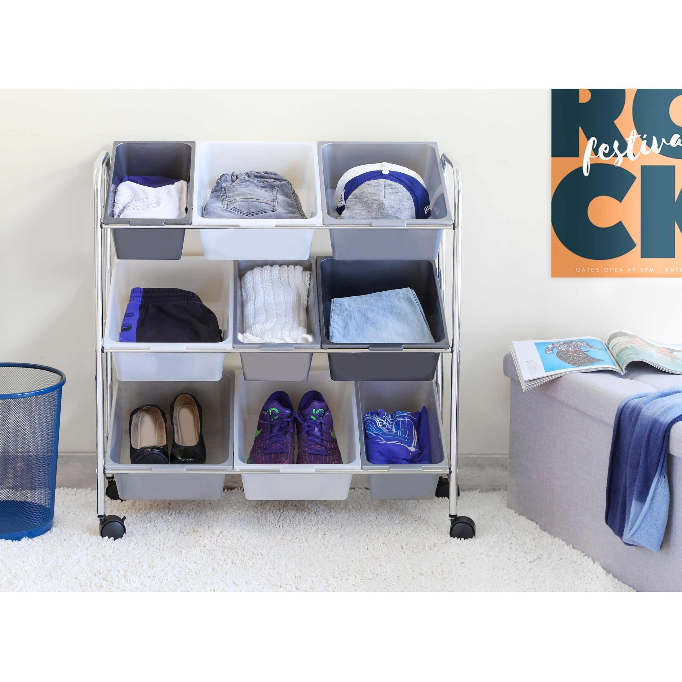 Shop Seville Classics Mobile 9 Bin Storage Organizer, Gradient Gray   Free  Shipping On Orders Over $45   Overstock.com   21936138