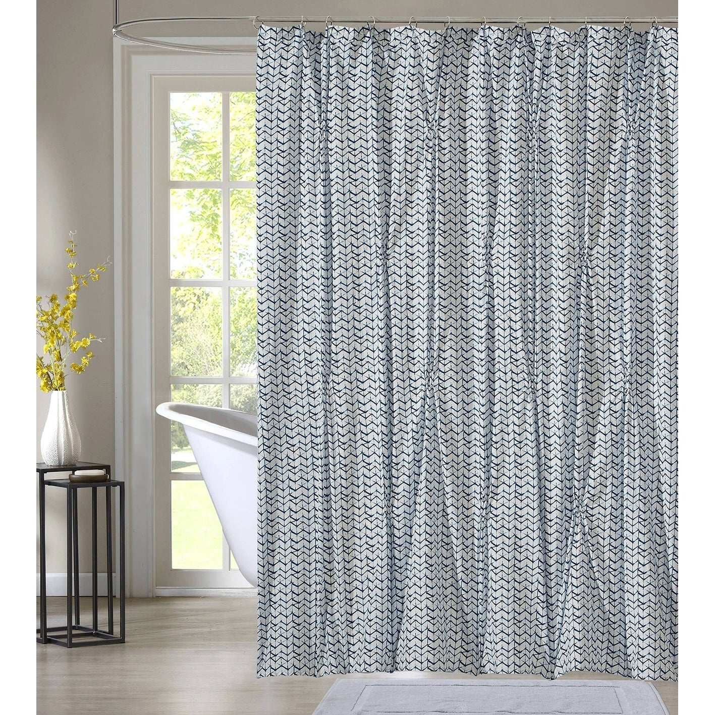 Style Quarters Blue Batik Shower Curtain Shibori Pattern With Smocked Details 100 Cotton