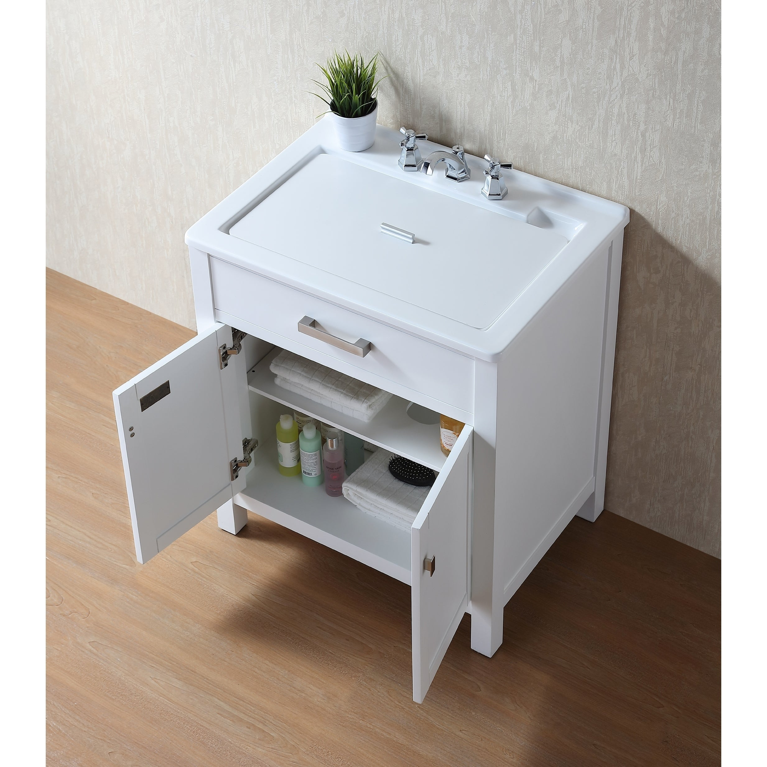 Stufurhome Radiant White Wood 30 Inch Laundry Sink Cabinet Free Shipping Today 21937798