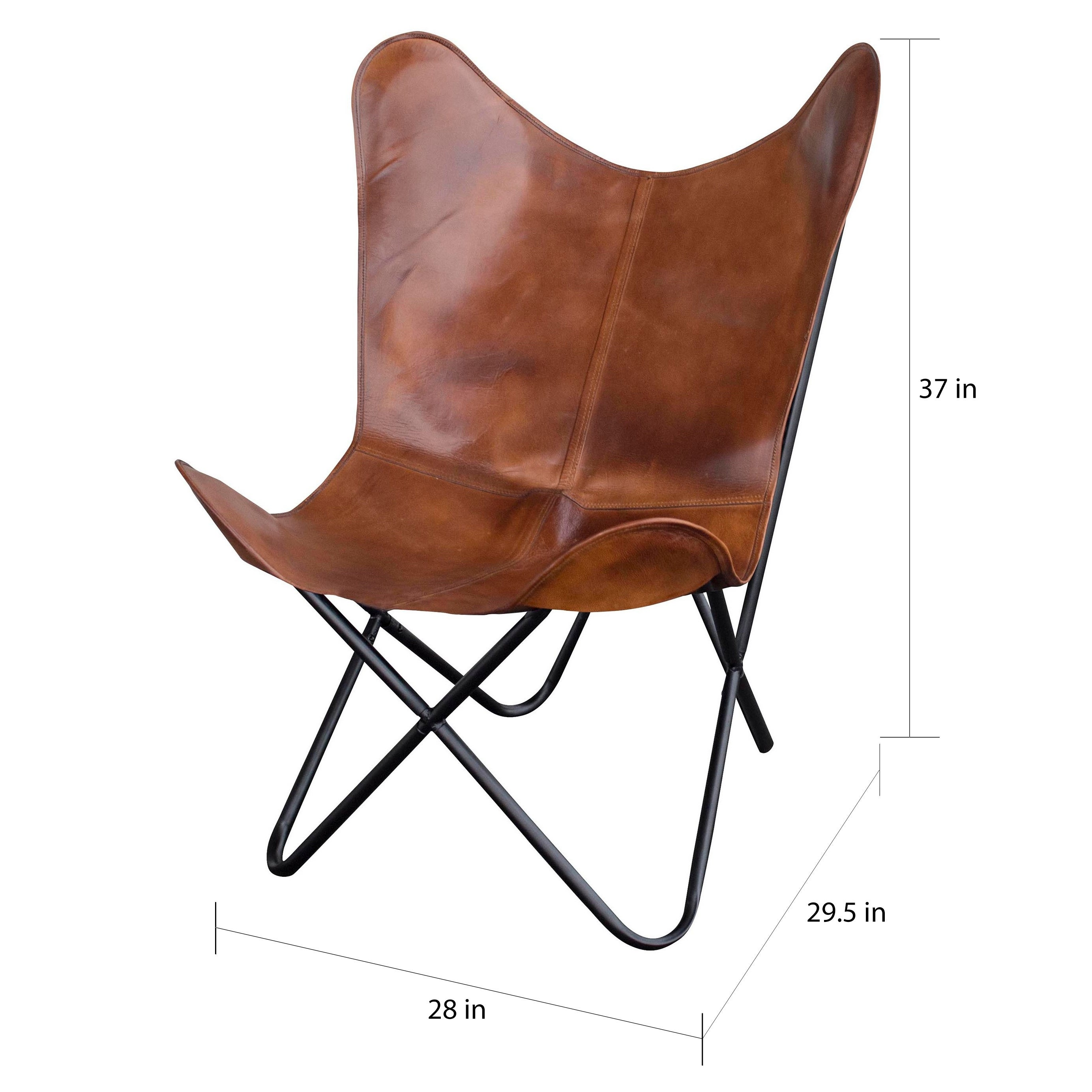 Merveilleux Shop Amerihome Leather Butterfly Chair In Natural Tan   Free Shipping Today    Overstock   21945027