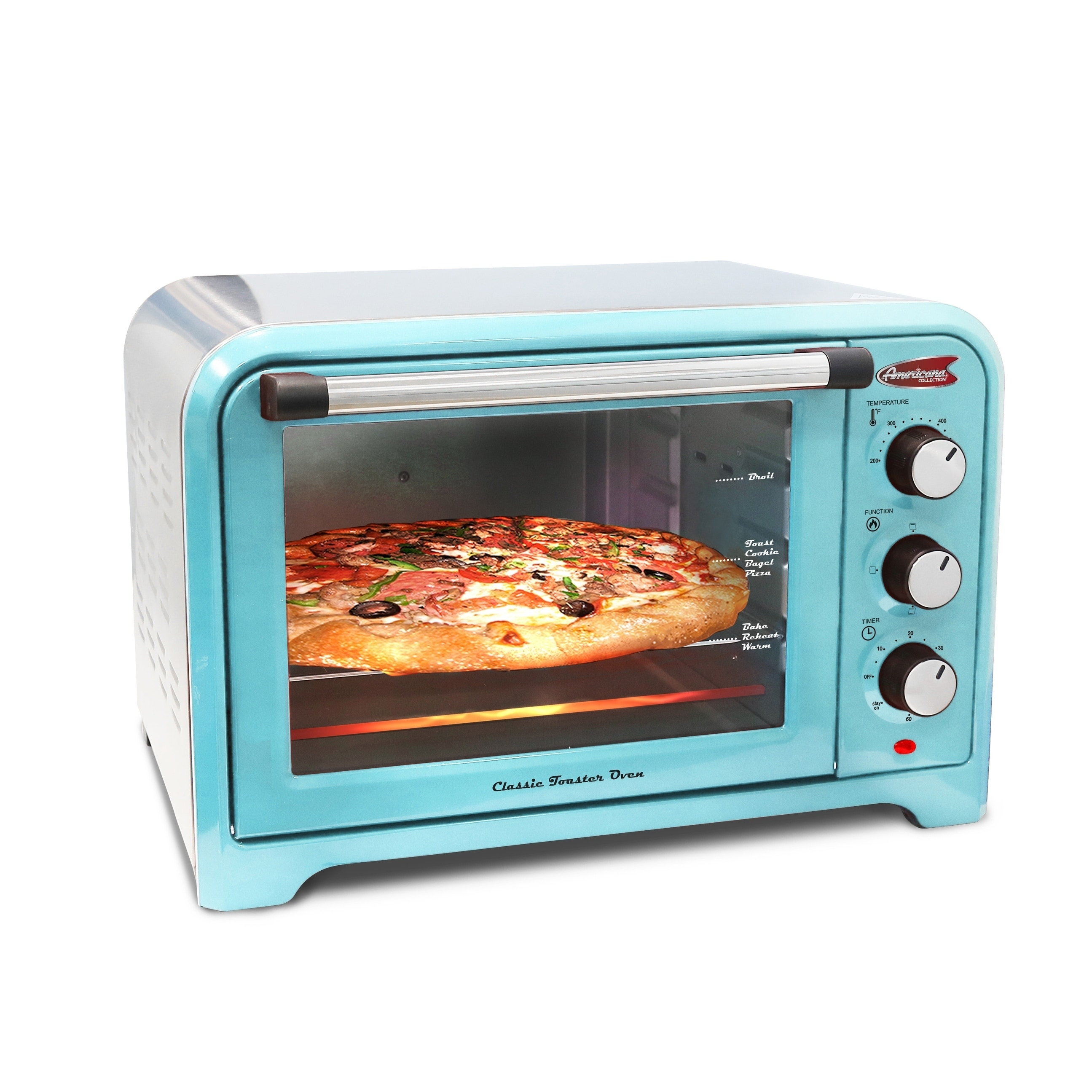 Shop Elite Americana ERO-2600BL 6-Slice Retro Toaster Oven, Blue ...