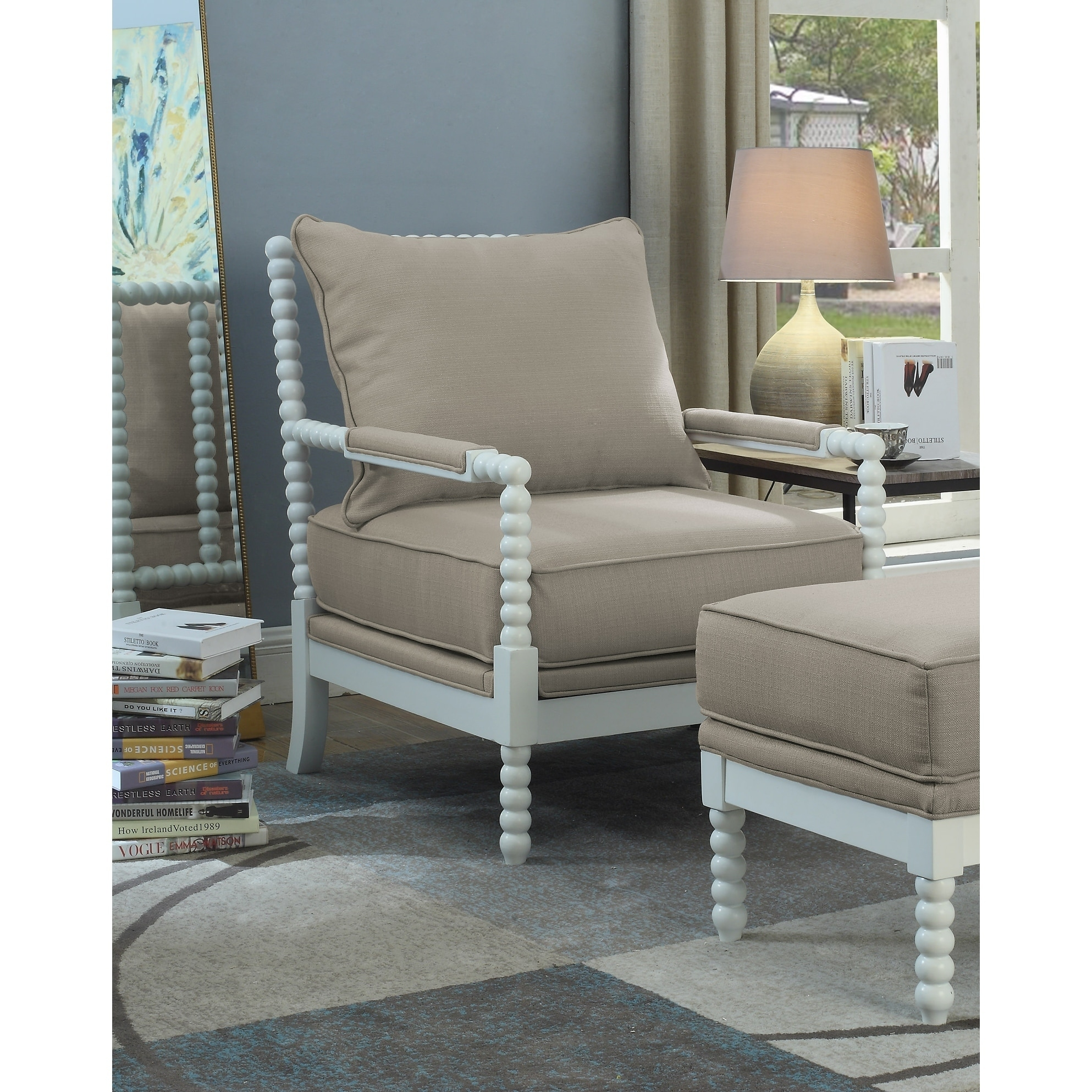 Shop Best Master Furniture Beige/White Fabric/Wood Armchair - Free Shipping Today - Overstock.com - 21950227  sc 1 st  Overstock.com & Shop Best Master Furniture Beige/White Fabric/Wood Armchair - Free ...