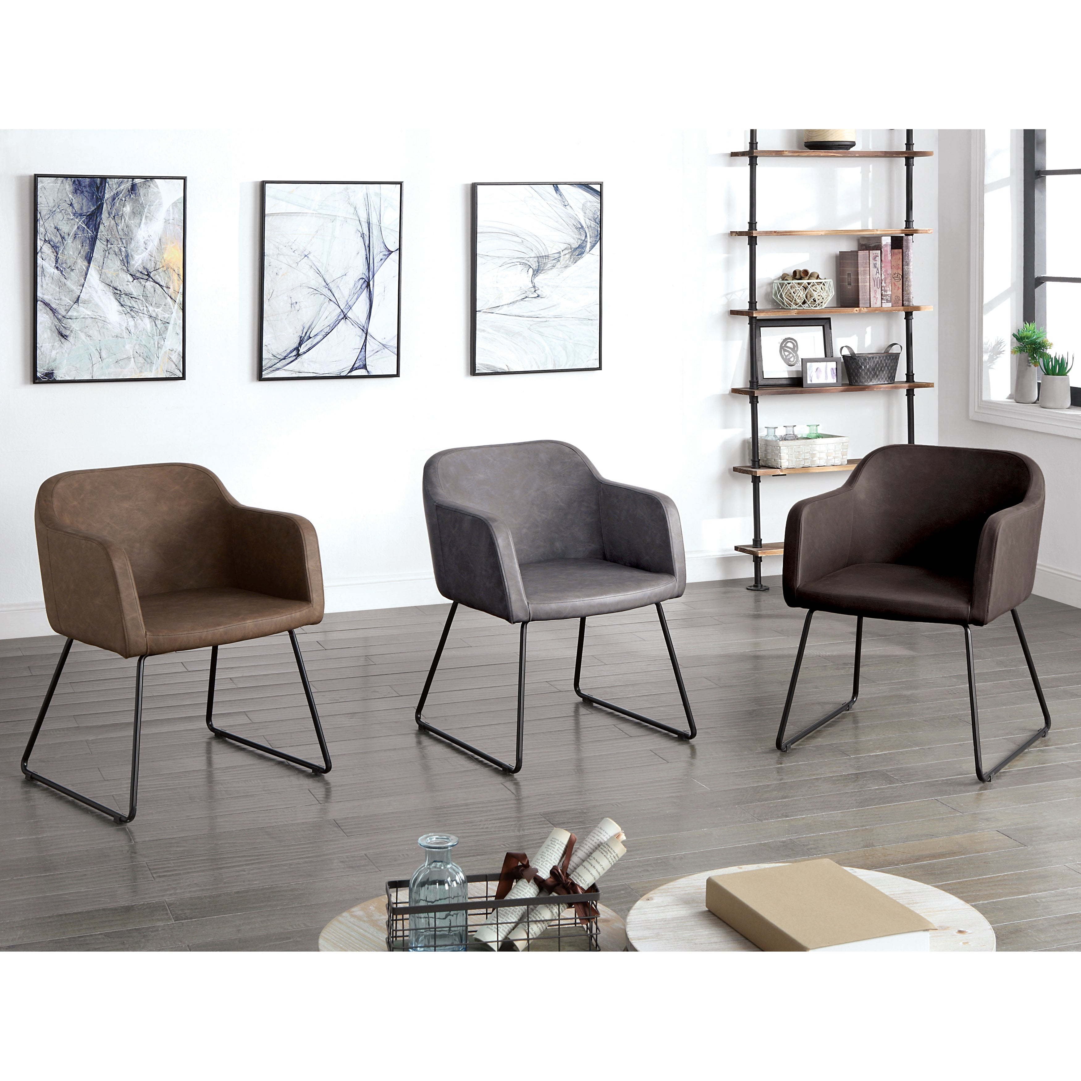 Furniture of america markson mid century modern faux leather accent chair