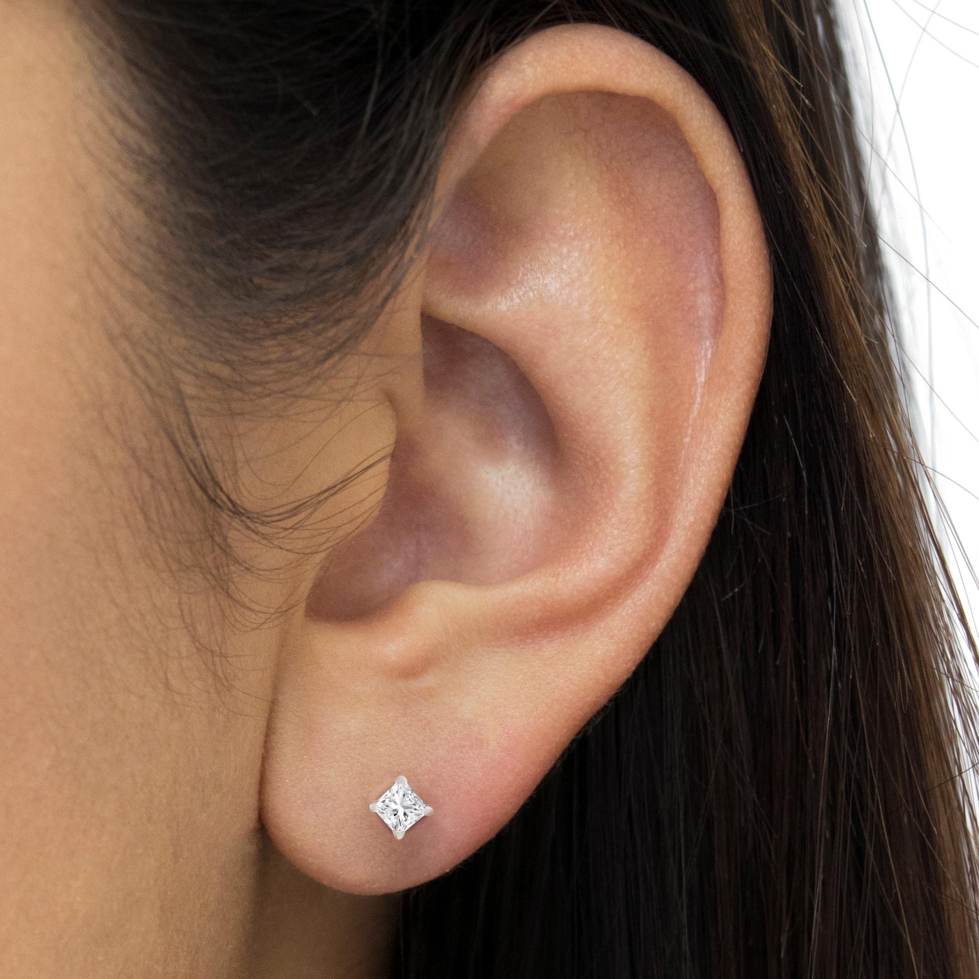 Shop 14K White Gold 1 ct Princess Cut Diamond Solitaire Stud Earrings (G-H bdfef5d29066