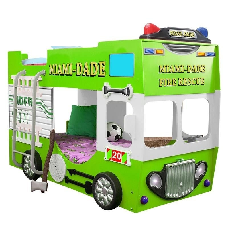 Shop Green Kids Fire Truck Bunk Bed Free Shipping Today