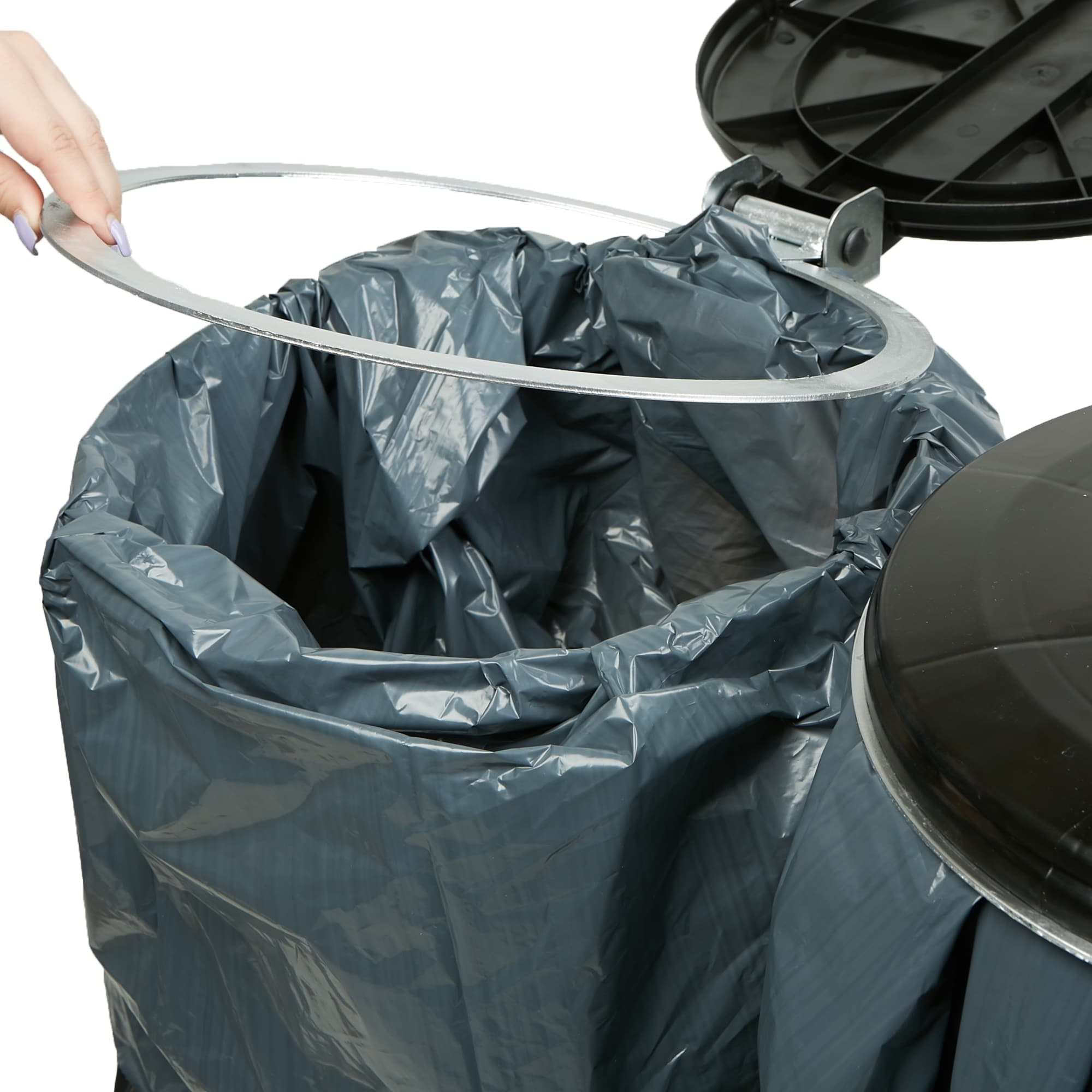 Mind Reader Dual Portable Trash Bag And Garbage Bag Holder With Lids For  Outdoor / Indoor Trash Can, Black   Free Shipping Today   Overstock    27658516
