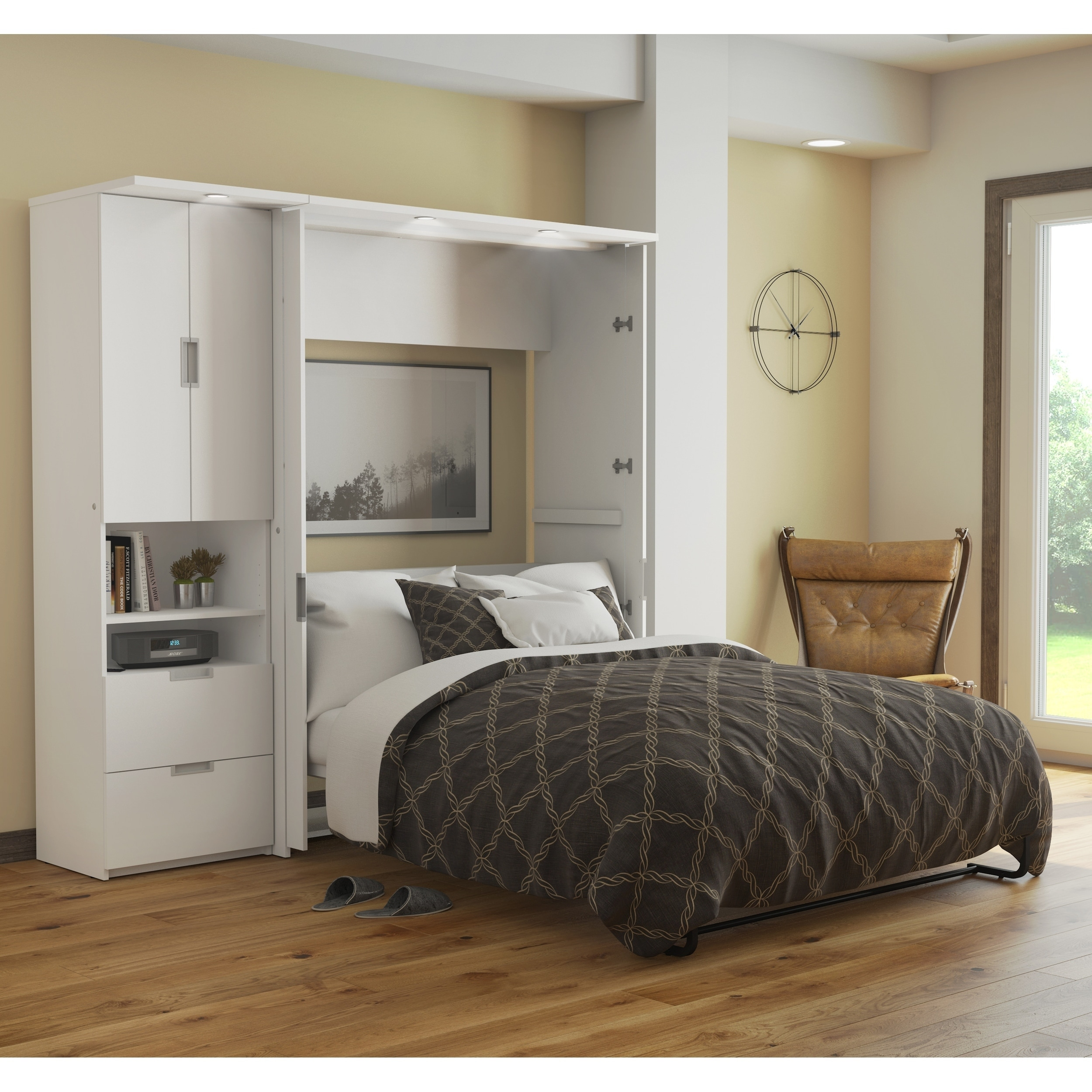 Bestar Lumina 2 Piece Full Wall Bed And Storage Unit In