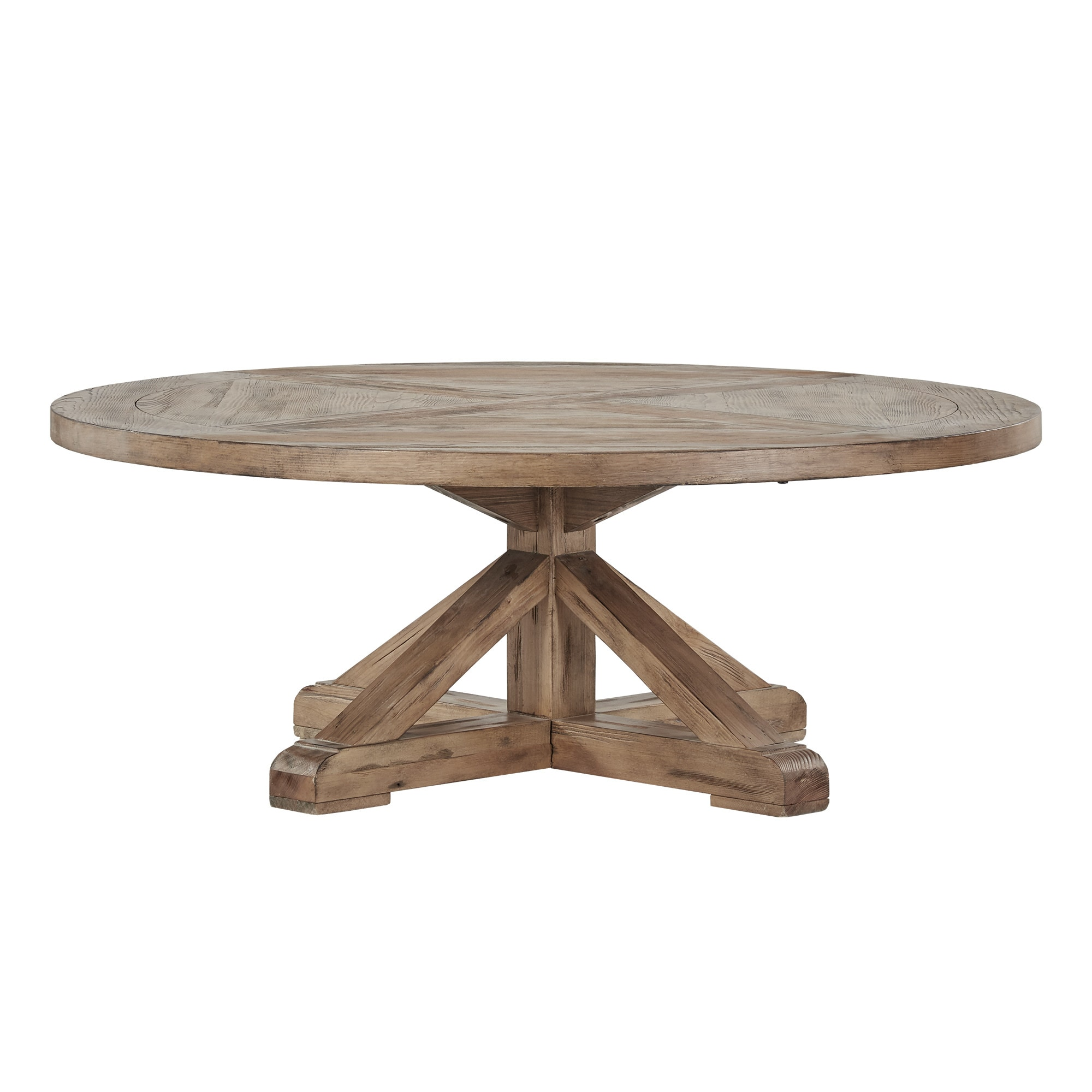 Benchwright Rustic X Base Round Pine Wood Coffee Table By Inspire