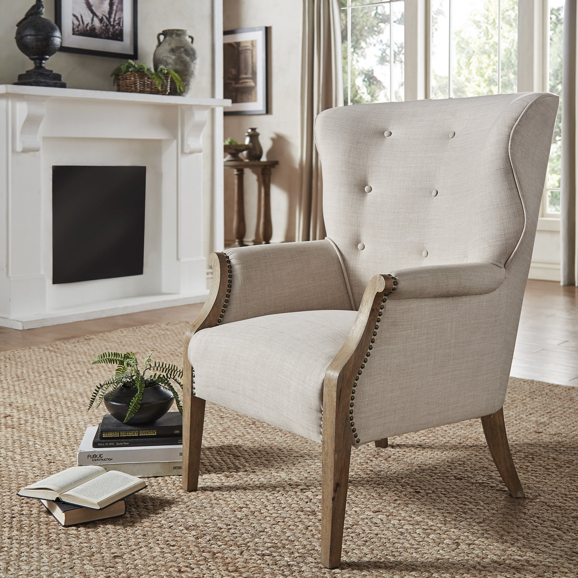 Constantine Exposed Wood Tufted Beige Linen Wingback Accent Chair By