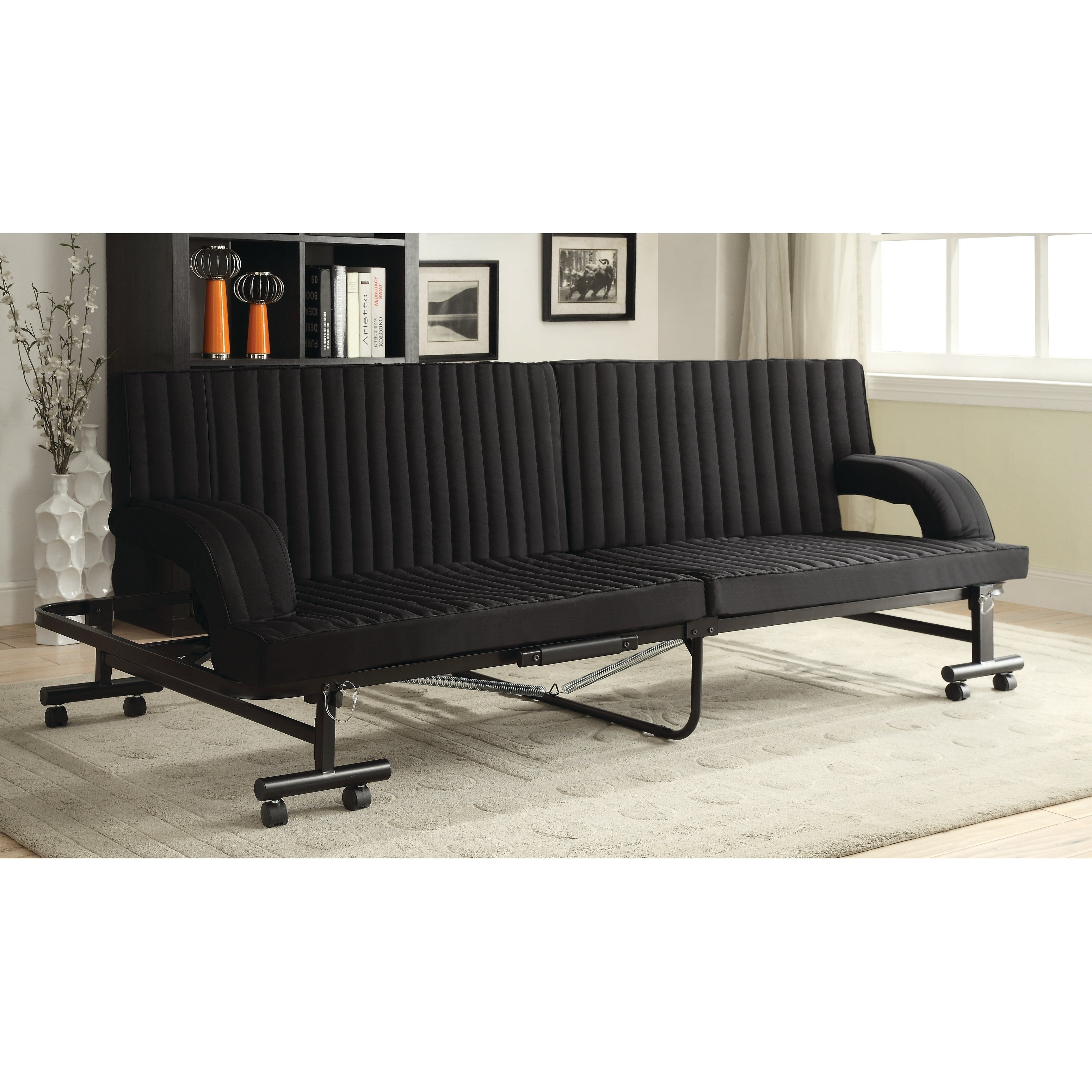 Shop contemporary black folding sofa bed free shipping today overstock com 22047268