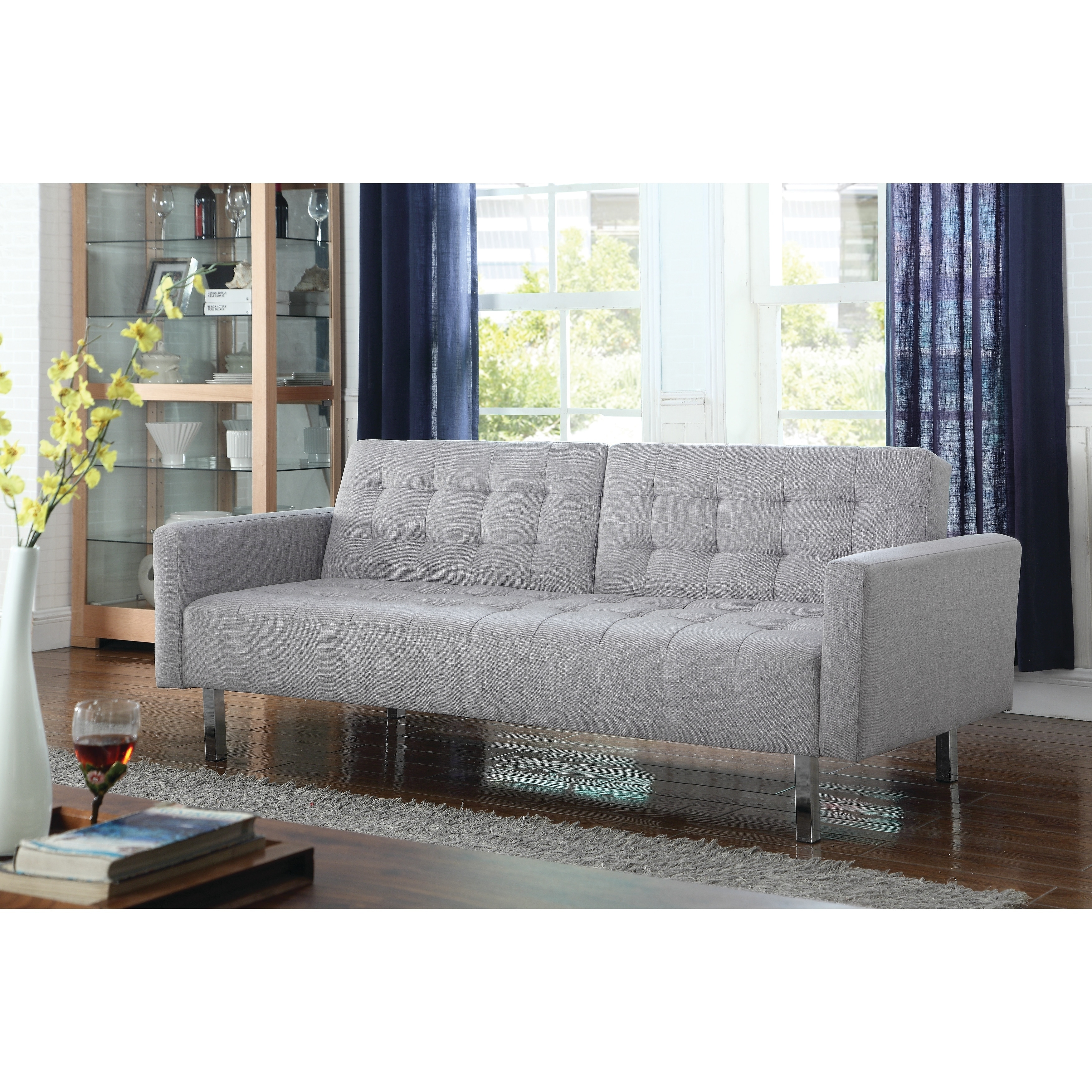 Transitional Light Grey Tufted Sofa Bed Free Shipping Today 22047303