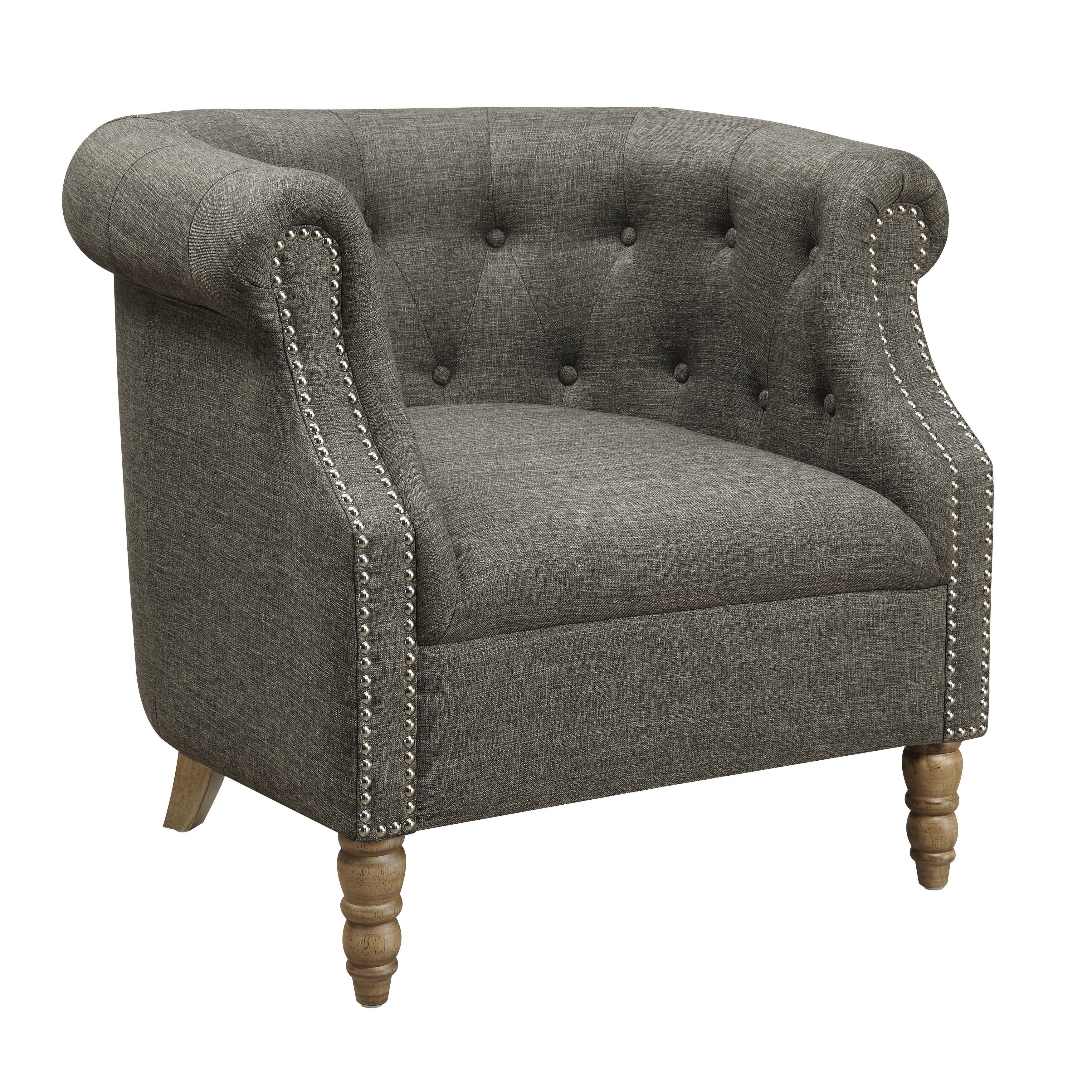 Traditional Button Tufted Grey Accent Chair  Free Shipping Today
