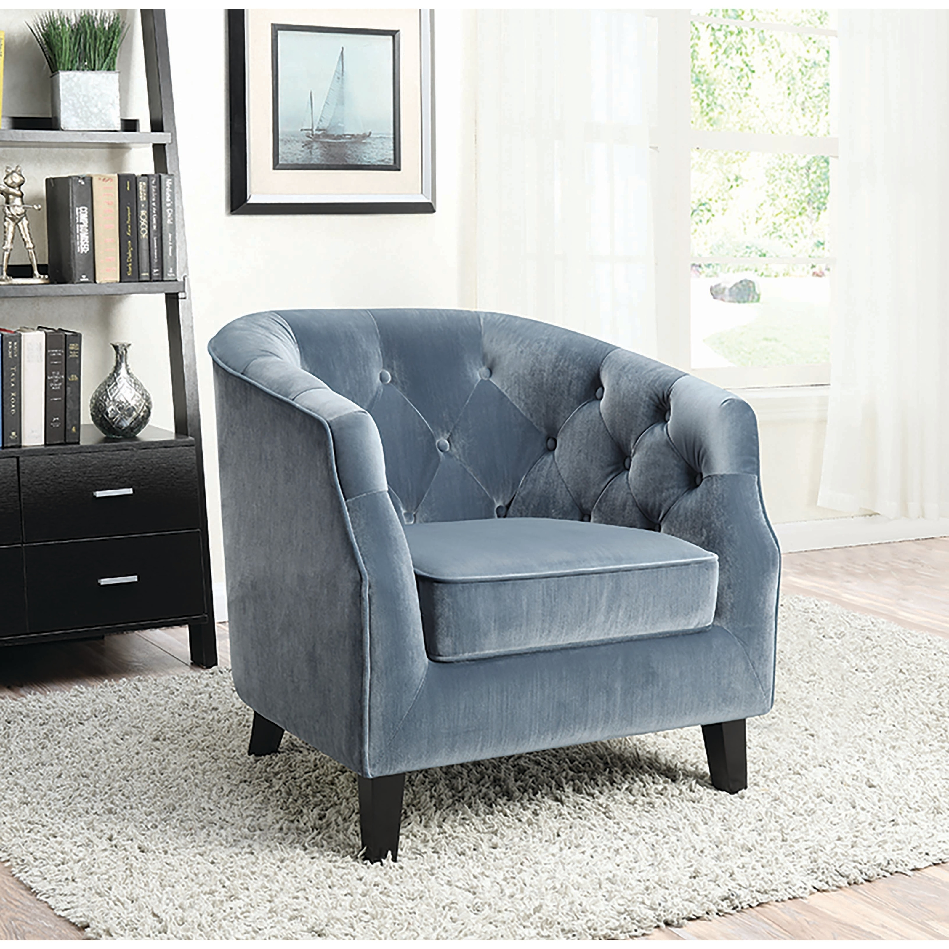 Traditional Dusty Blue Accent Chair  Free Shipping Today
