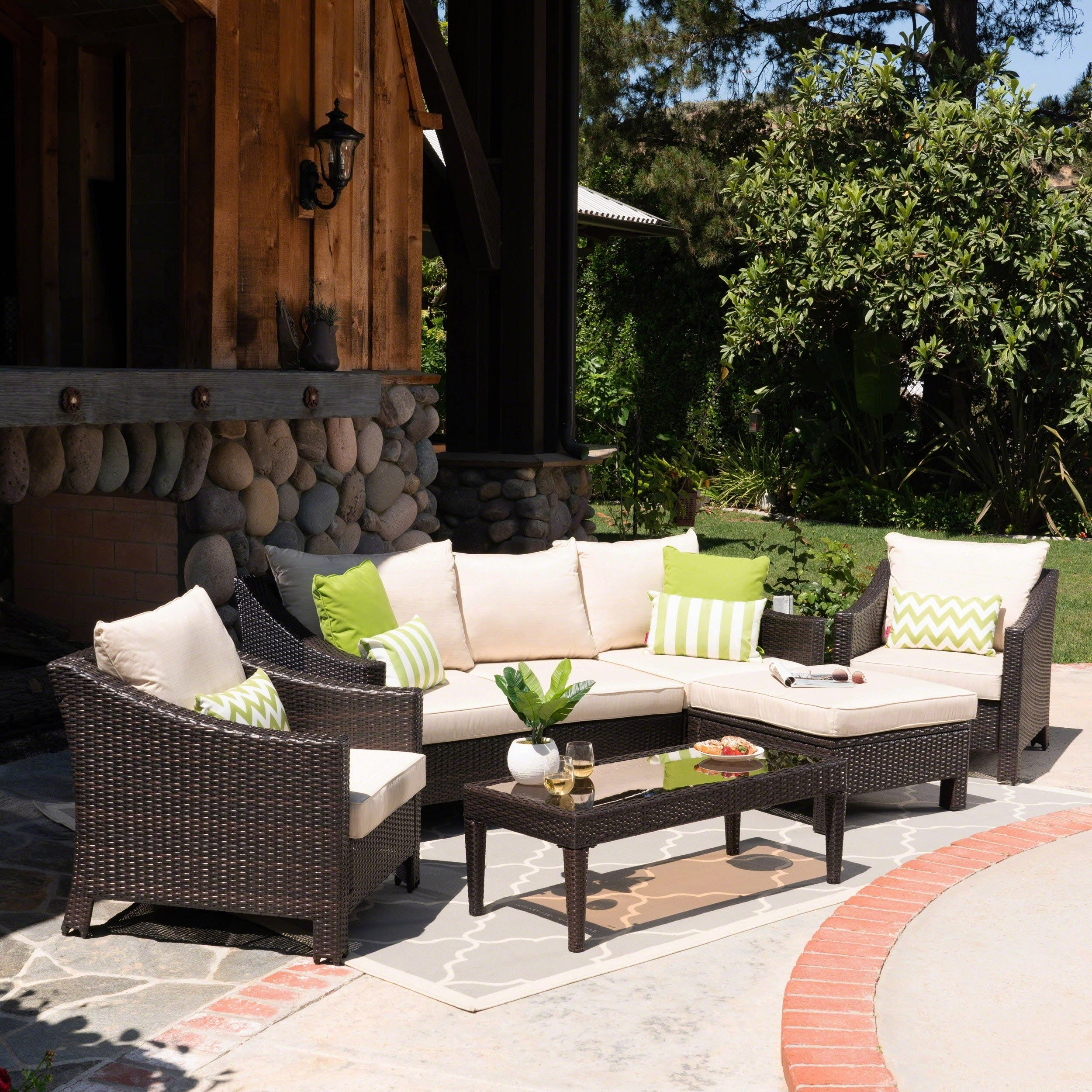 Charmant Shop Antibes Outdoor 5 Seater L Shaped Sofa Set With Cushions By  Christopher Knight Home   Free Shipping Today   Overstock.com   22047876