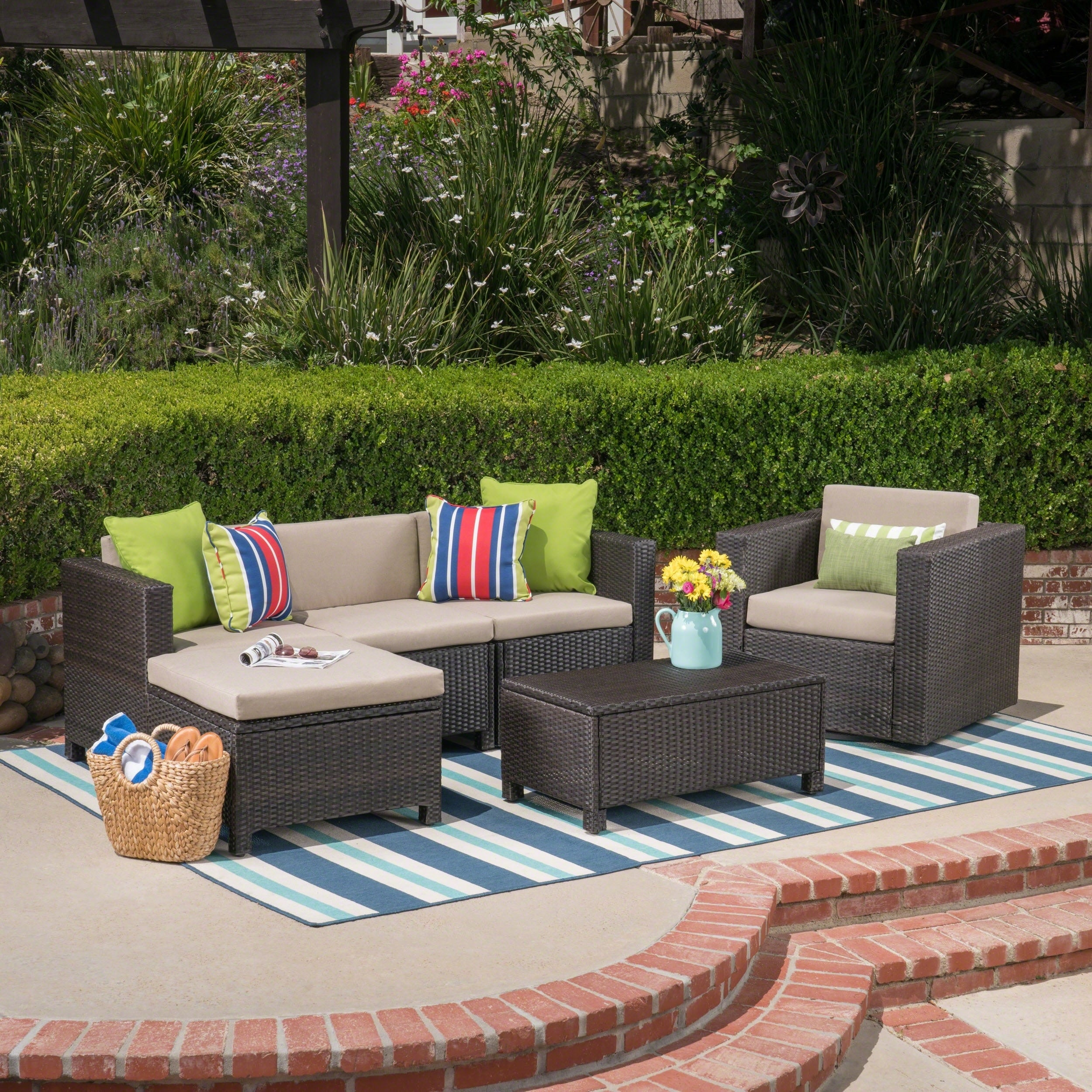 Exceptionnel Shop Puerta Outdoor 4 Seater L Shaped Sofa Set With Cushions By Christopher  Knight Home   On Sale   Free Shipping Today   Overstock.com   22047956