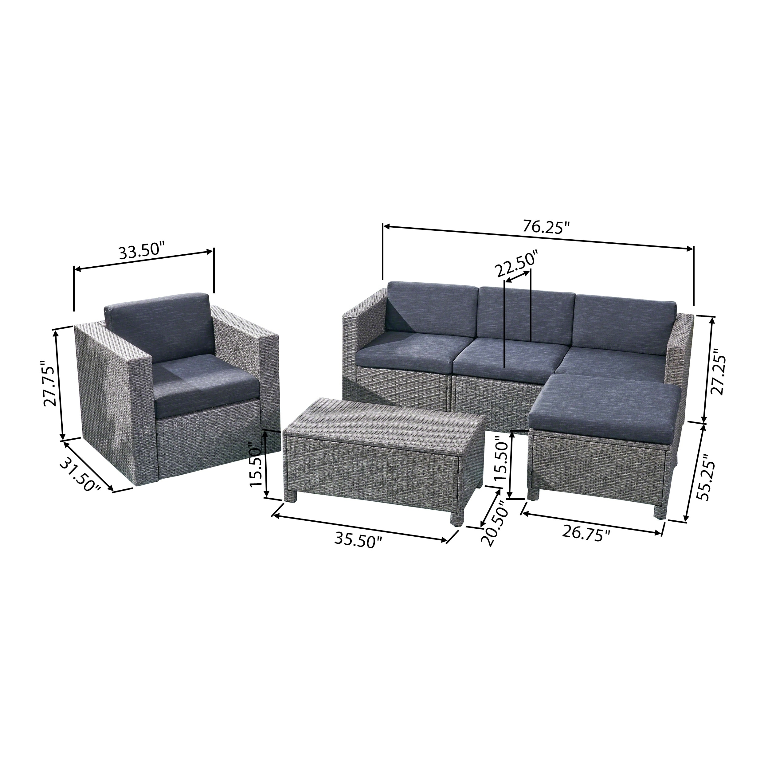 Shop Puerta Outdoor 4 Seater L-Shaped Sofa Set with Cushions by ...
