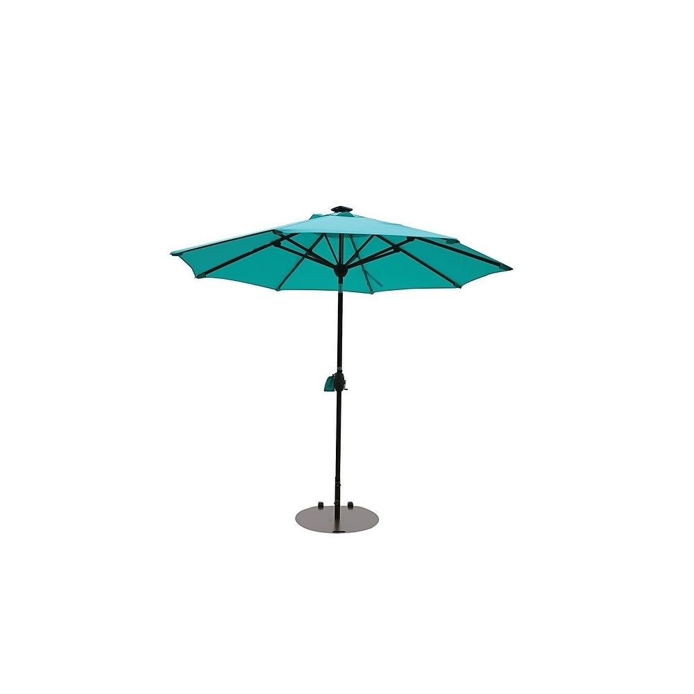 SORARA Patio Umbrella With Solar Powered 64 LED Lights,9u0027 Turquoise   Free  Shipping Today   Overstock   27724435