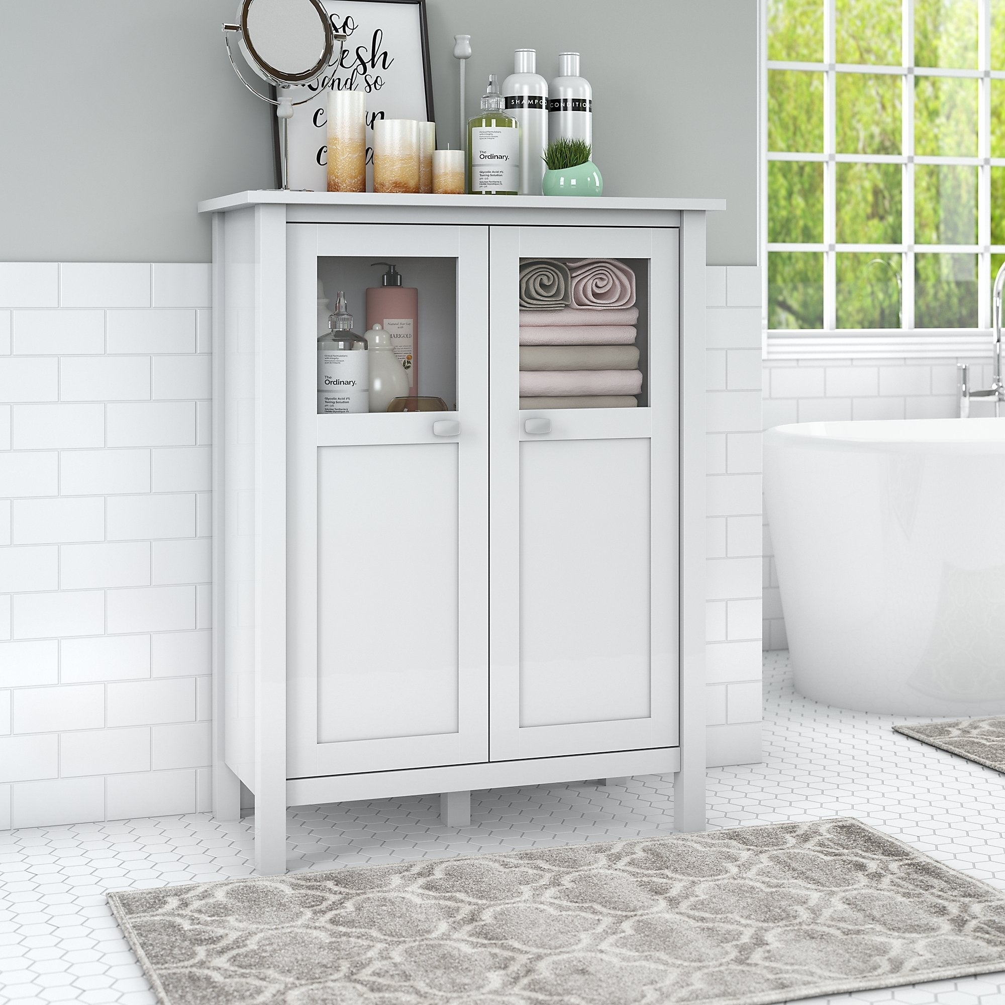 Bush Furniture Broadview Bathroom Storage Cabinet In White Free Shipping Today 22065113