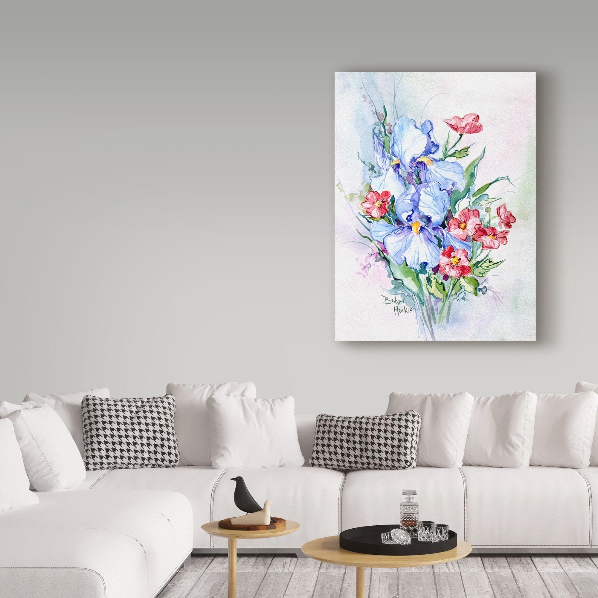 Barbara Mock ' Blue Iris Bouquet' Canvas Art