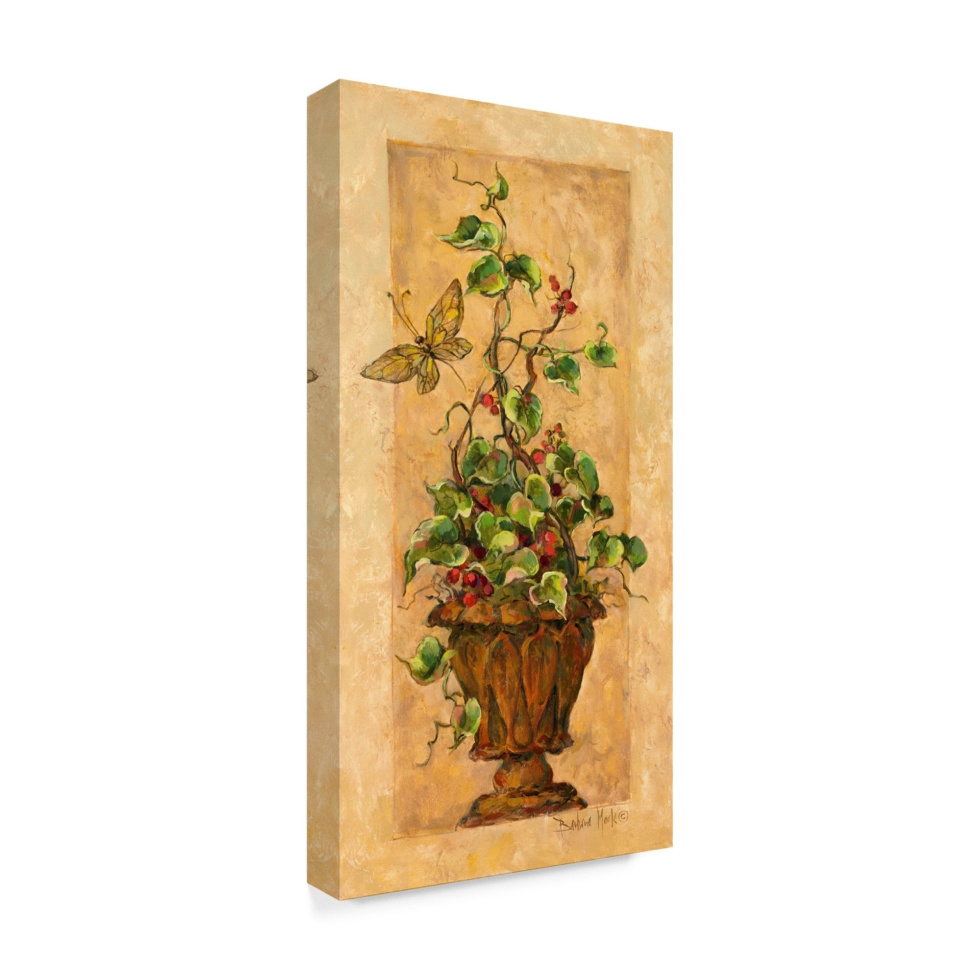 Shop Barbara Mock \' Topiary With Butterfly\' Canvas Art - On Sale ...