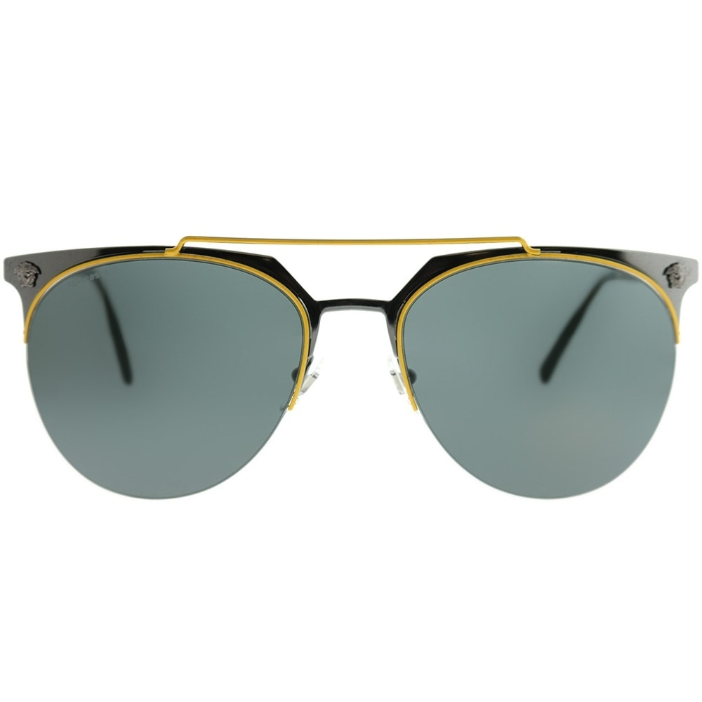 798bfe258ff Shop Versace Aviator VE 2181 100171 Unisex Yellow Gunmetal Frame Green Lens  Sunglasses - Free Shipping Today - Overstock - 22066005