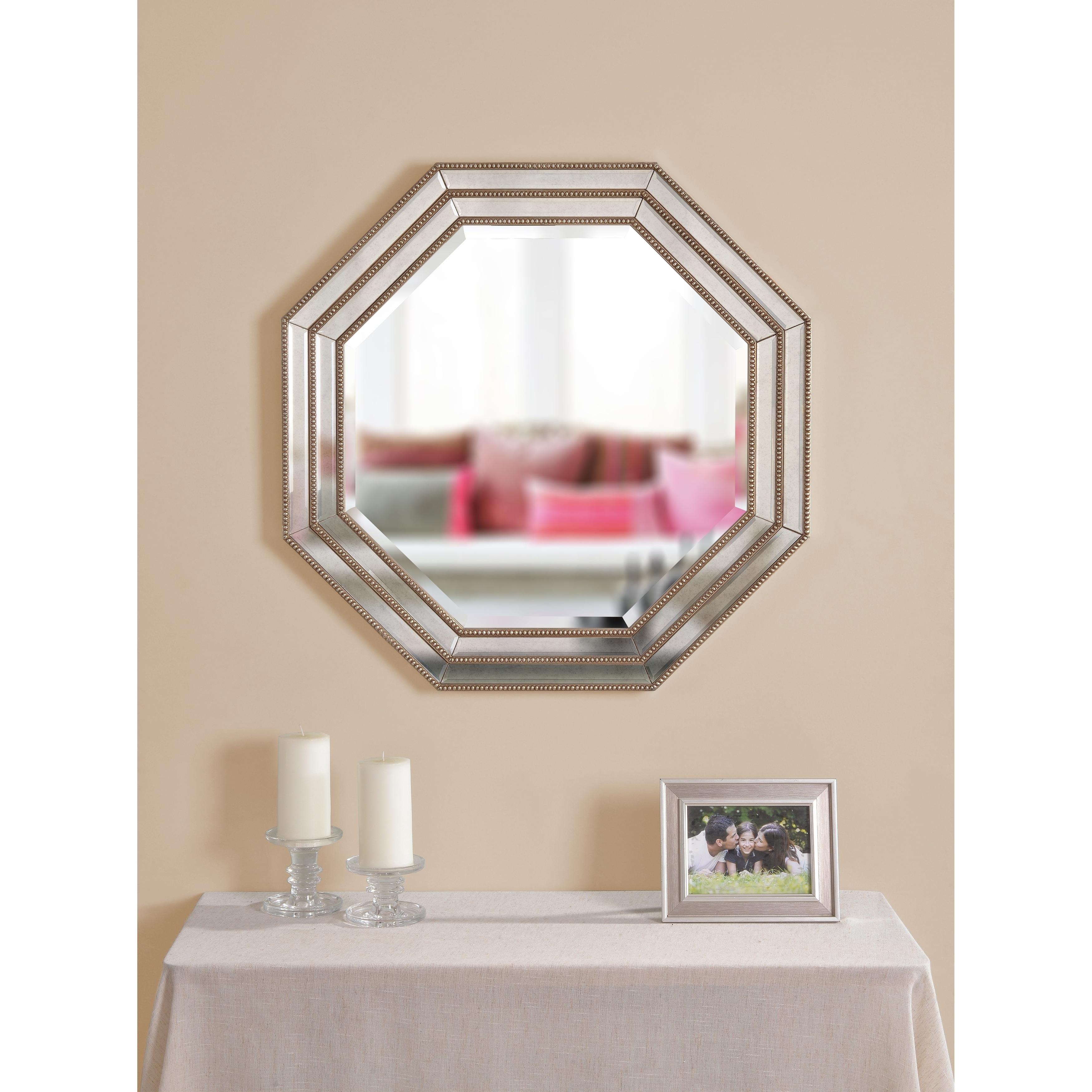 Finn 30 octagon champagne wall mirror by design craft