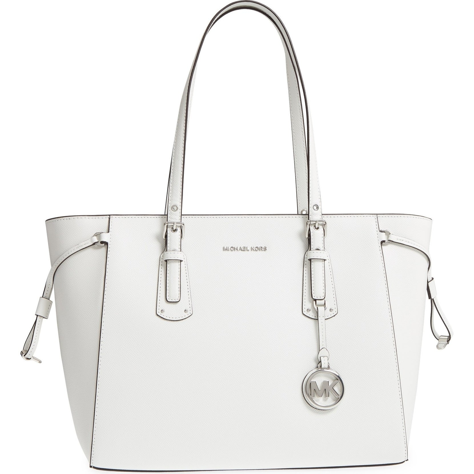 cbfc35715bb6 Shop MICHAEL Michael Kors Voyager Medium Top Zip Optic White Tote Bag -  Free Shipping Today - Overstock - 22084987