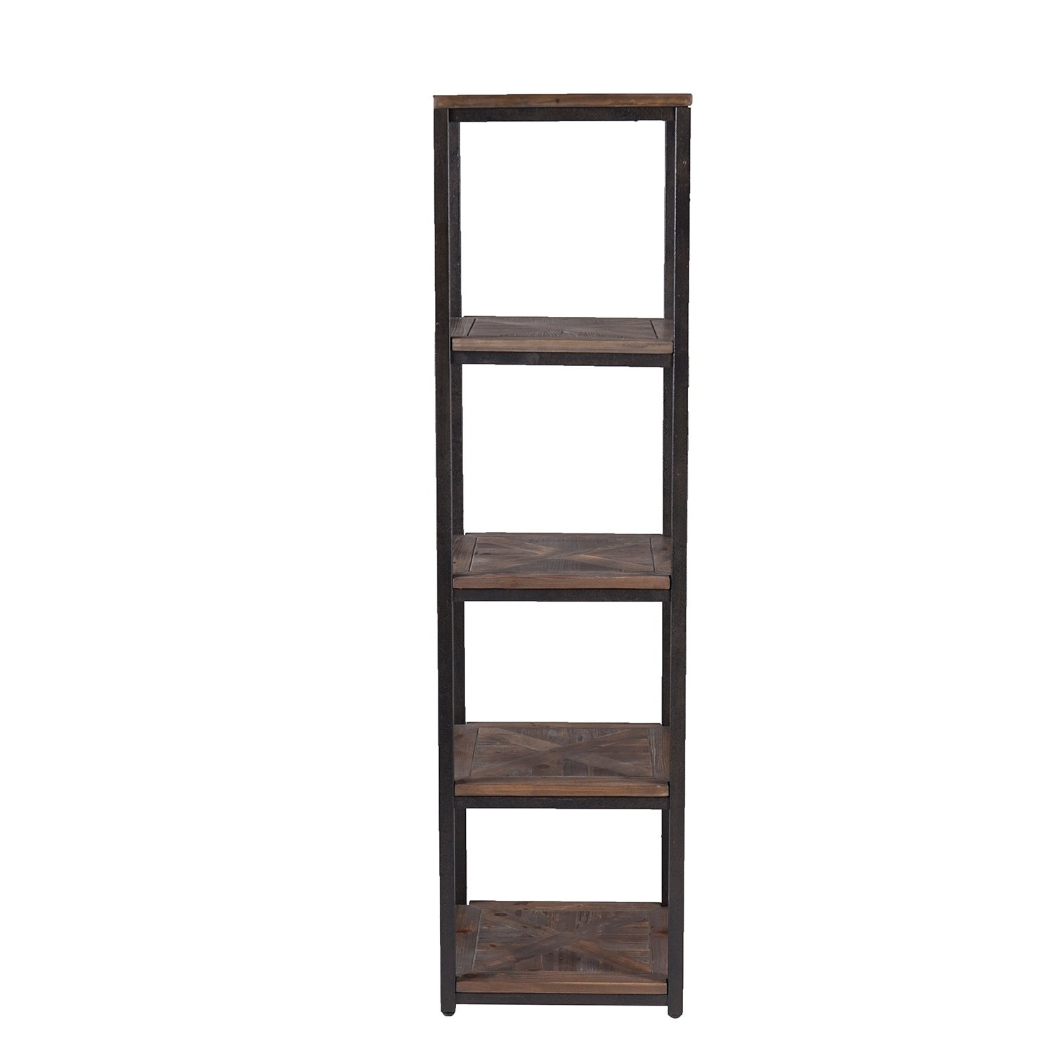 Harper Blvd Magnilio Rustic Black With Distressed Fir Media Bookcase