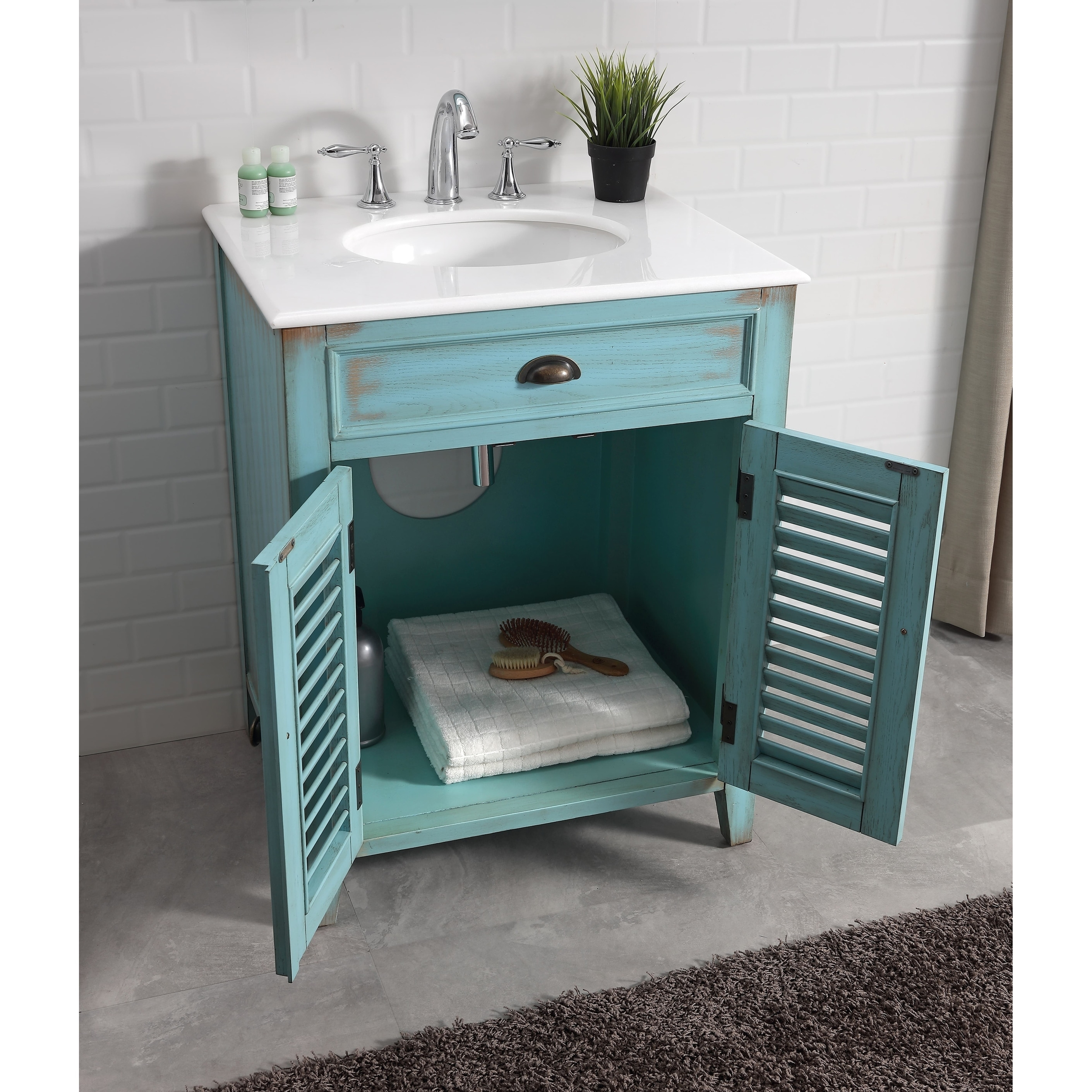 Modetti Palm Beach 26 Inch Single Sink Bathroom Vanity With Marble