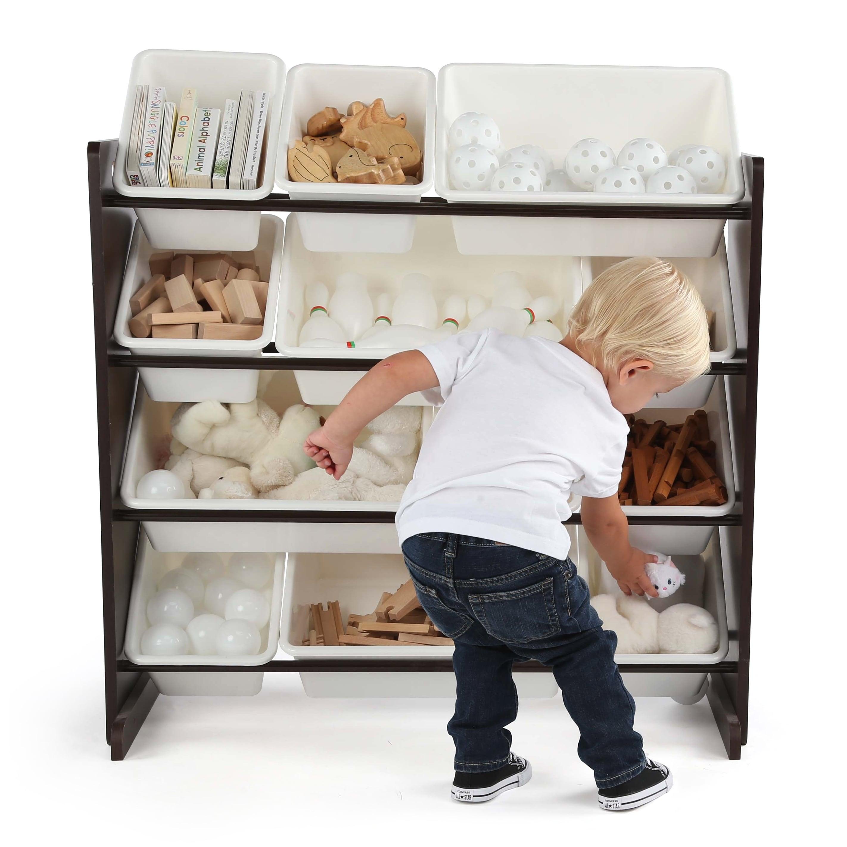 Tot Tutors Kids Wood Toy Storage Organizer With 12 Plastic